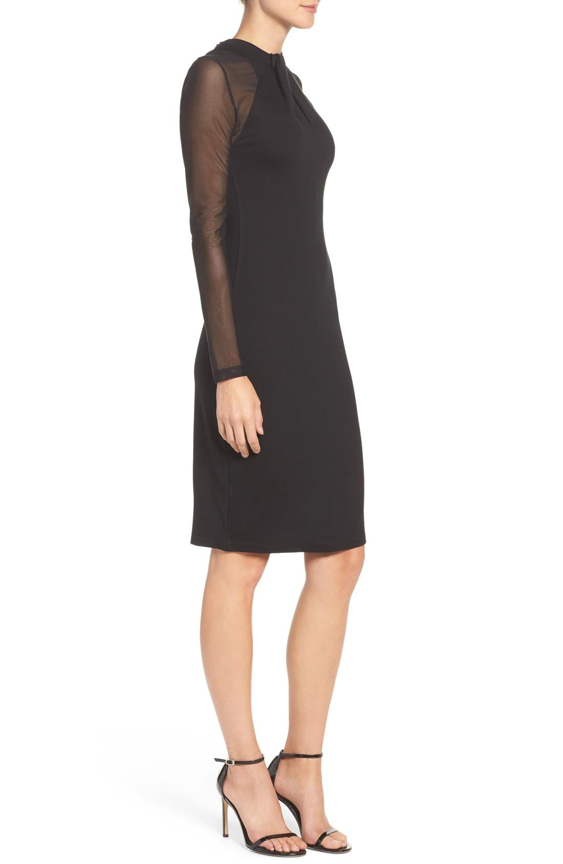 'Tania Tuck' Mesh Sleeve Sheath Dress,                             Alternate thumbnail 3, color,                             Black