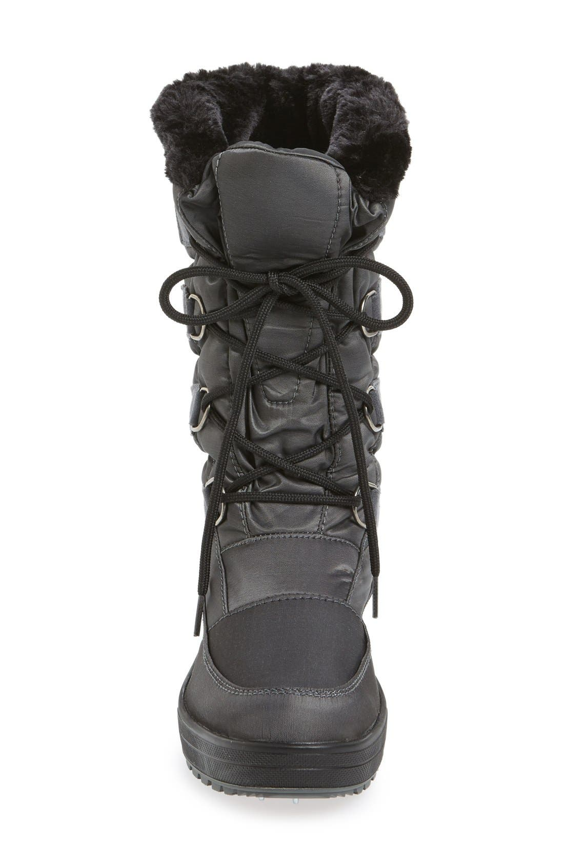 'Riga' Waterproof Ice Grippers<sup>®</sup> Boot,                             Alternate thumbnail 3, color,                             Charcoal Fabric