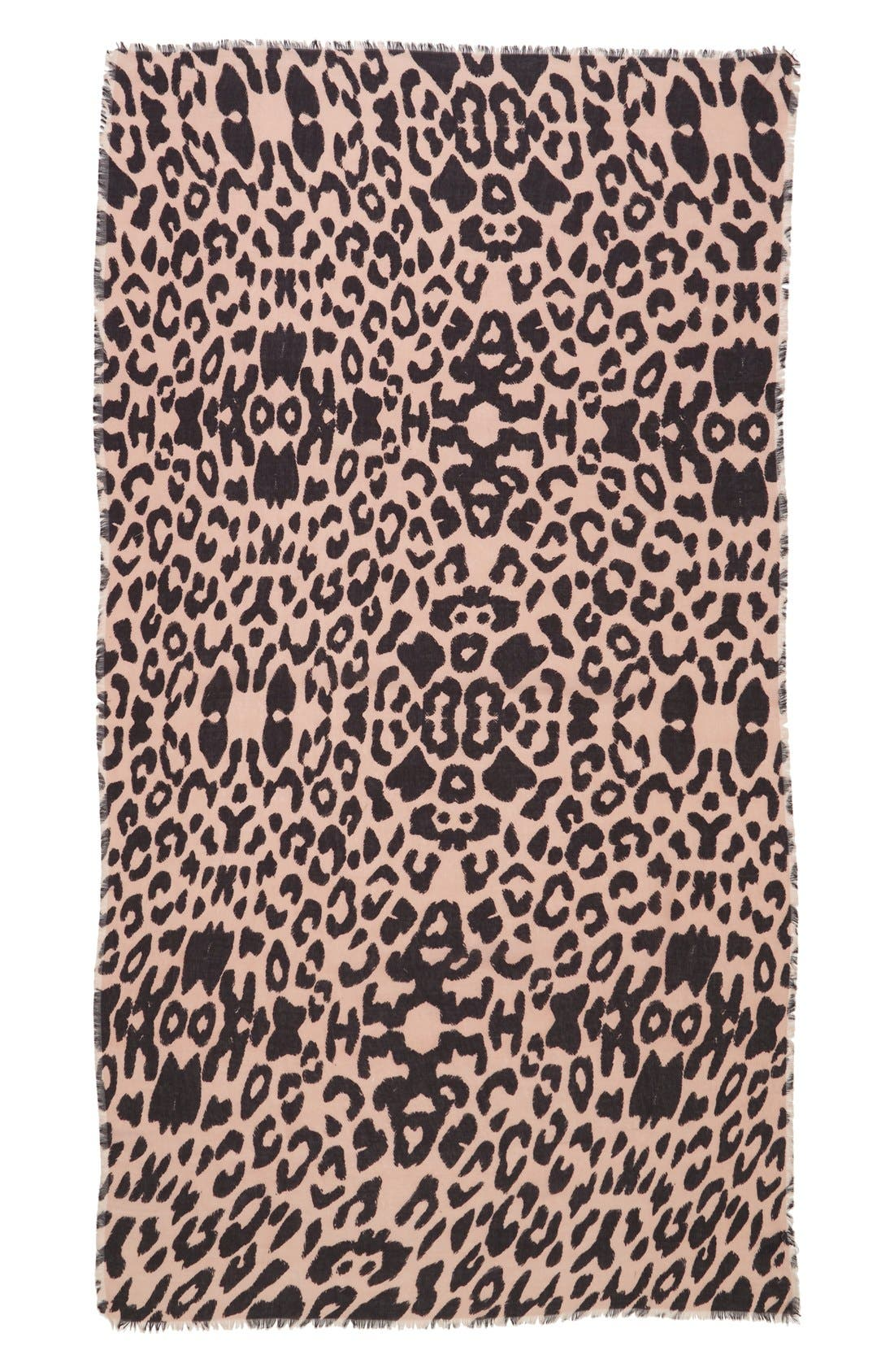 Leopard Print Scarf,                             Alternate thumbnail 2, color,                             Tan Multi