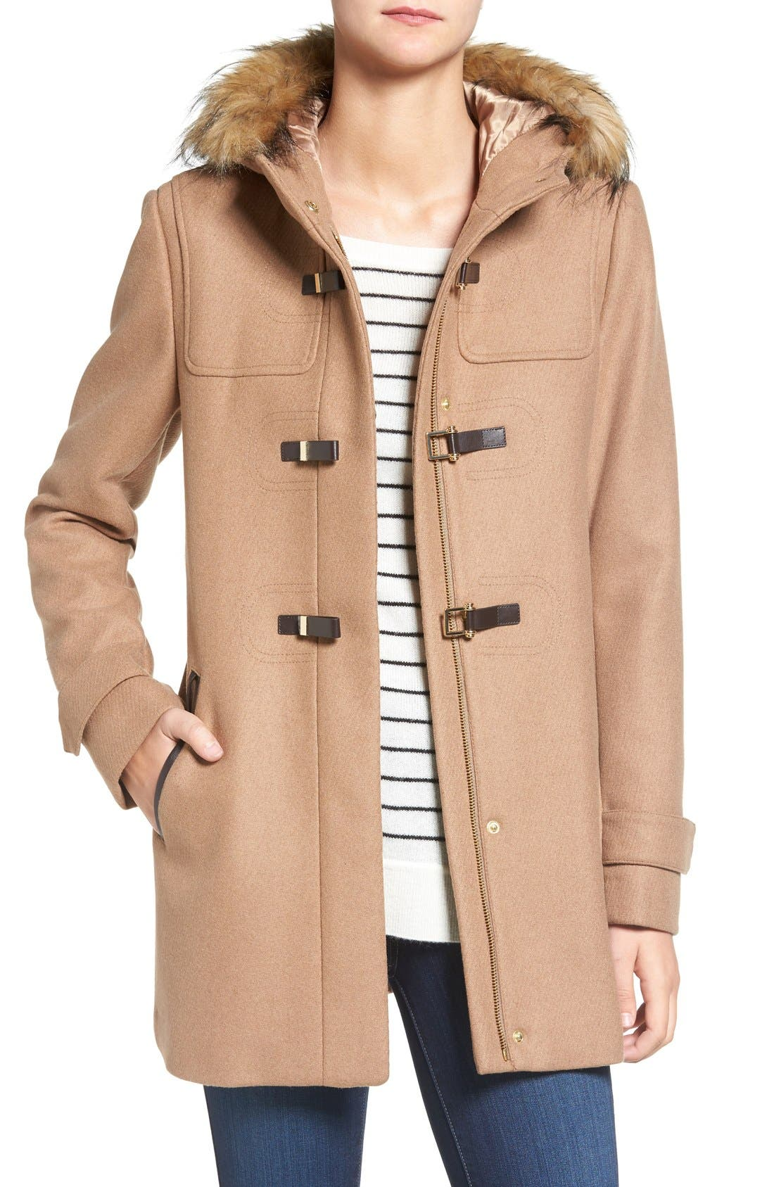Cole Haan Hooded Duffle Coat with Faux Fur Trim,                         Main,                         color, Camel
