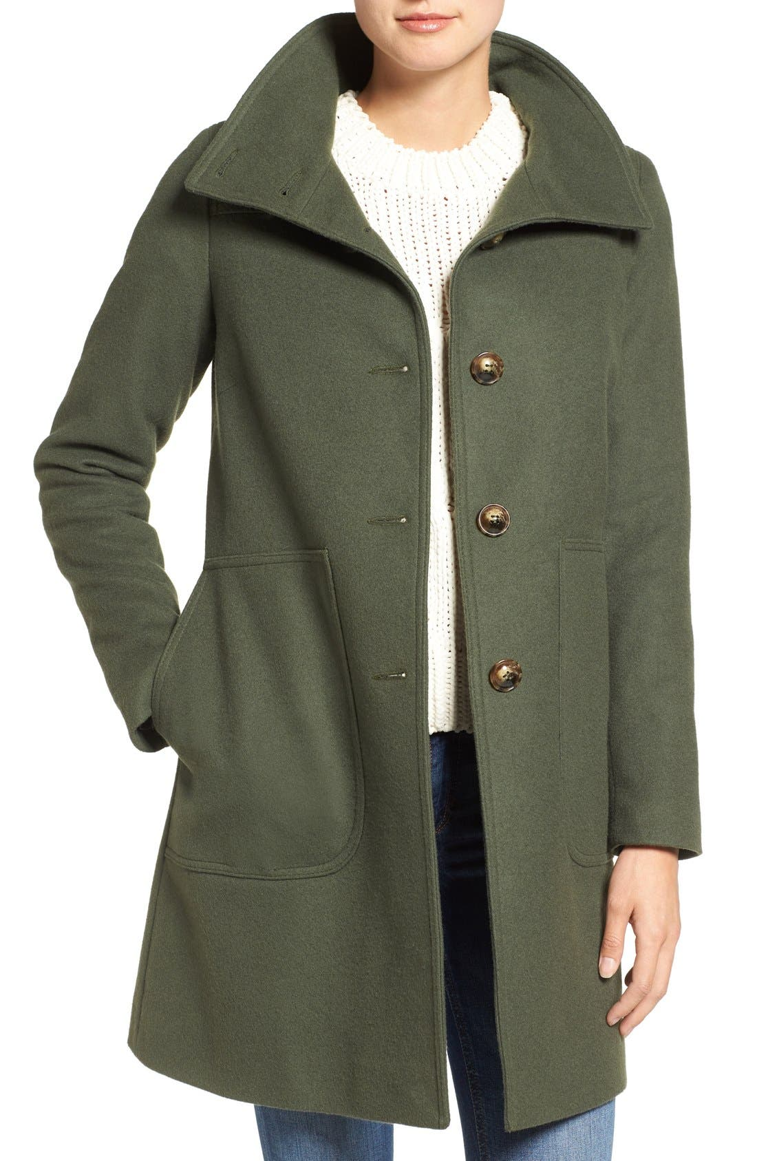 Funnel Neck Wool Blend Coat,                             Main thumbnail 1, color,                             Moss