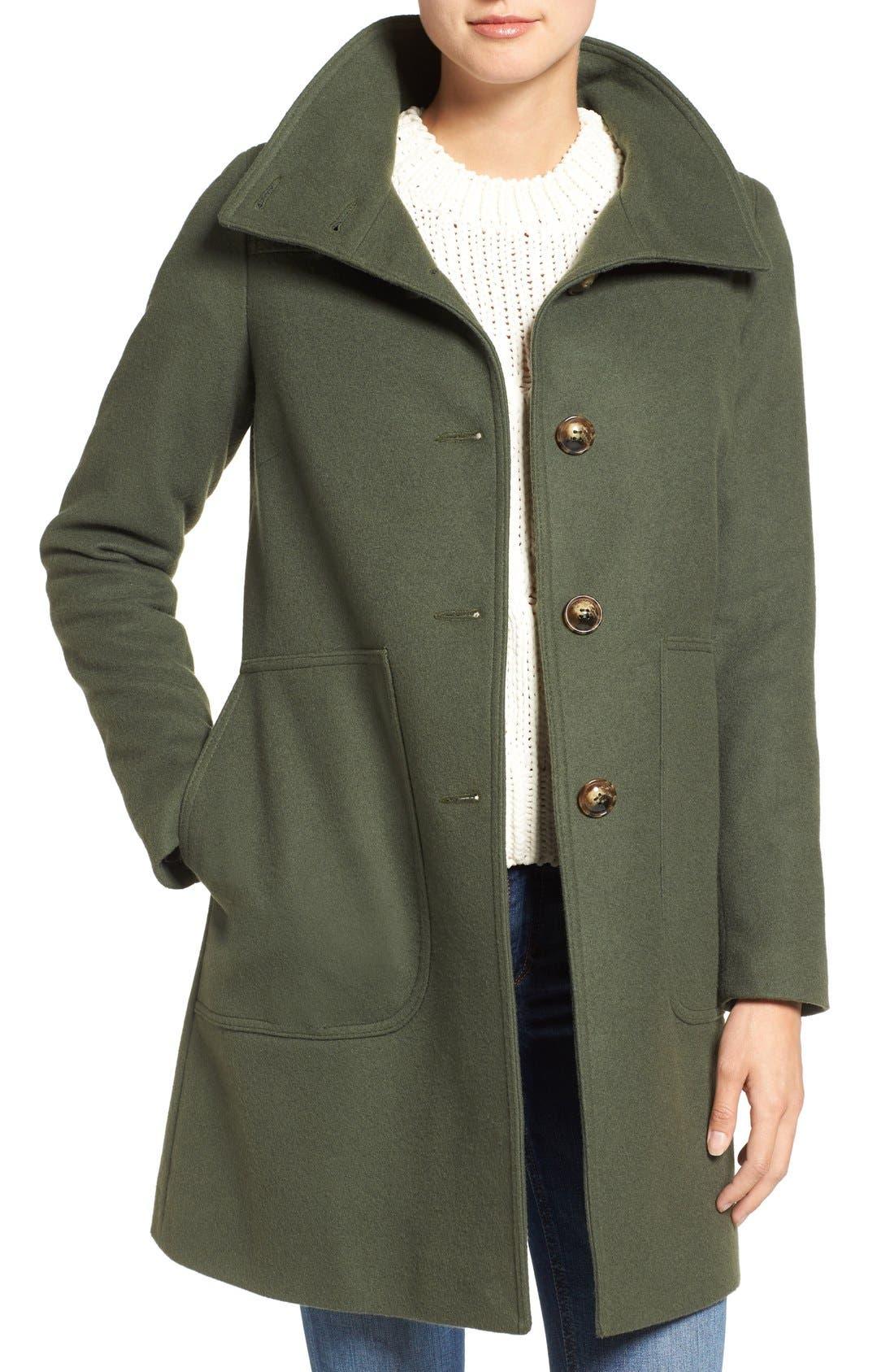 Funnel Neck Wool Blend Coat,                         Main,                         color, Moss