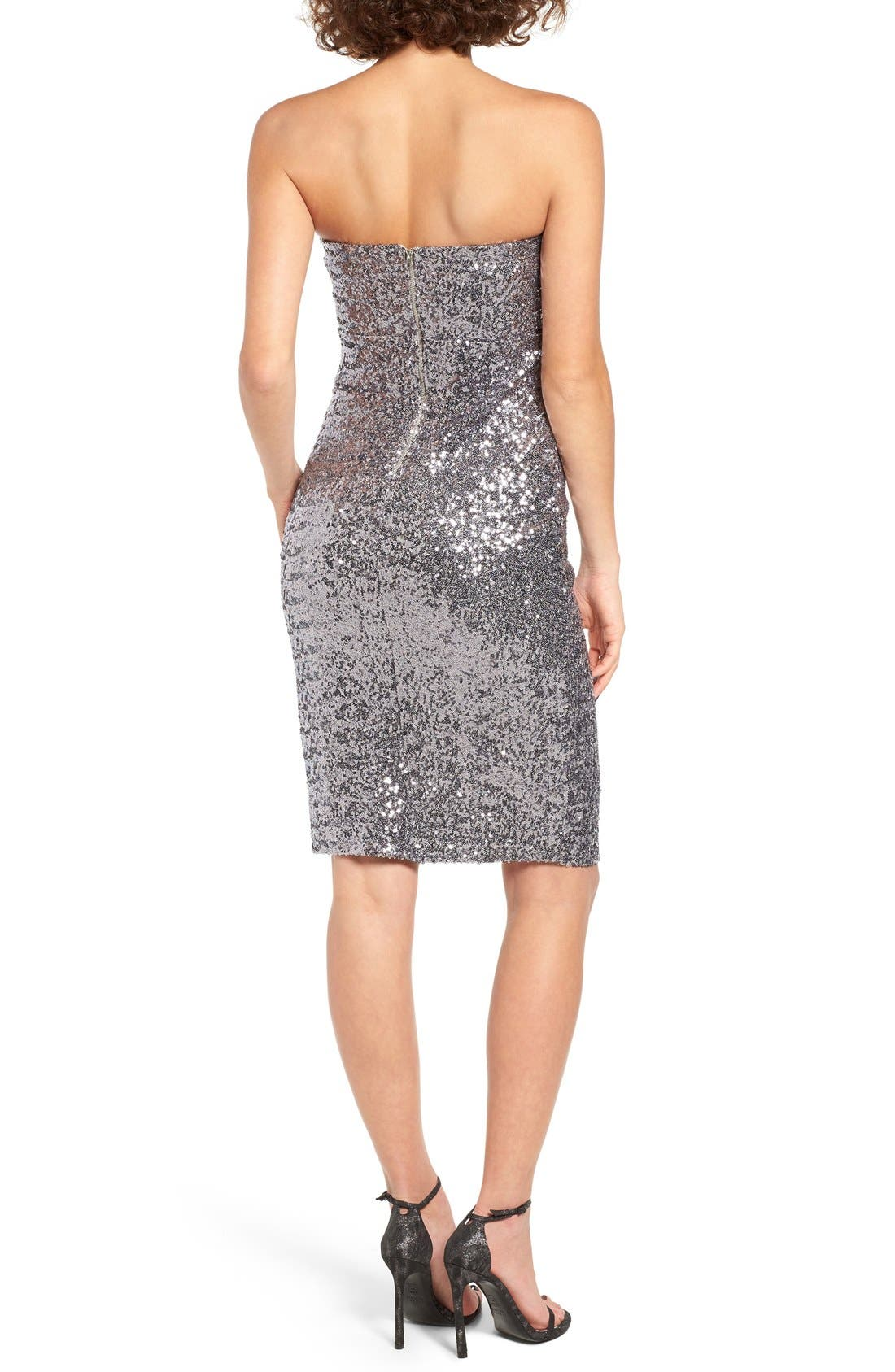 Alternate Image 2  - TFNC Cirilla Strapless Sequin Dress