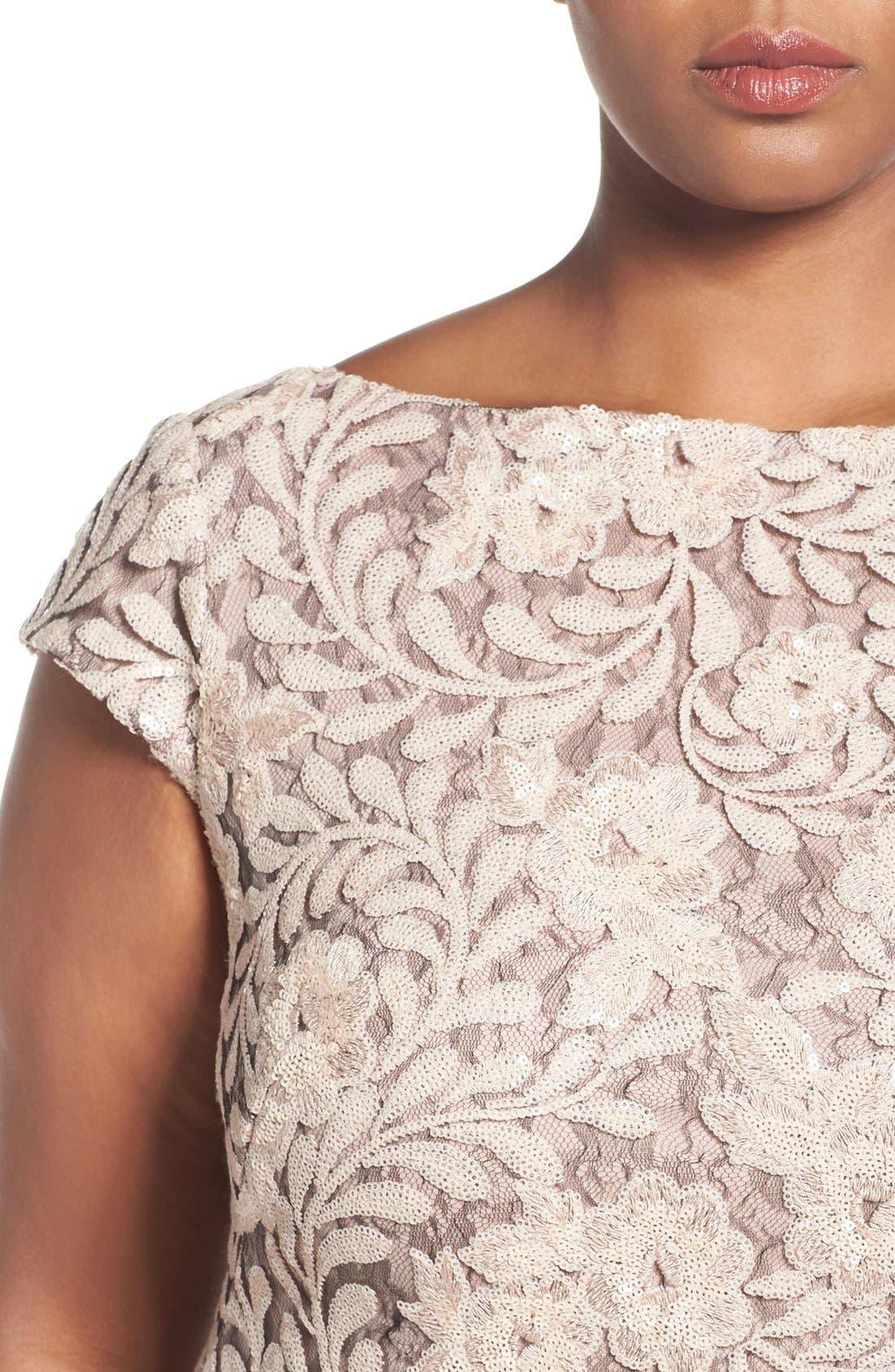 Alternate Image 4  - Brianna Sequin Lace Column Gown (Plus Size)