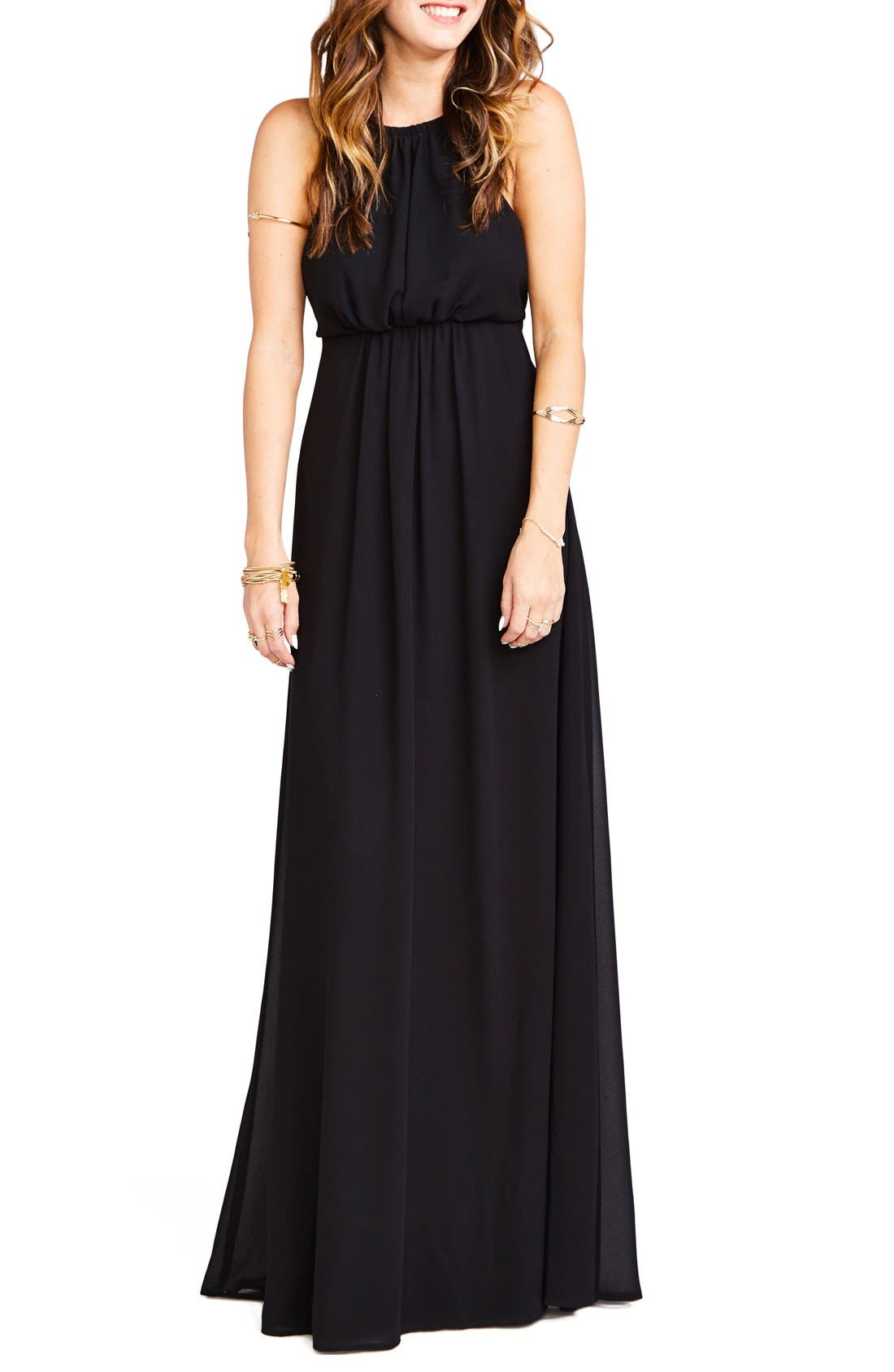 Amanda Open Back Blouson Gown,                             Main thumbnail 1, color,                             Black Chiffon