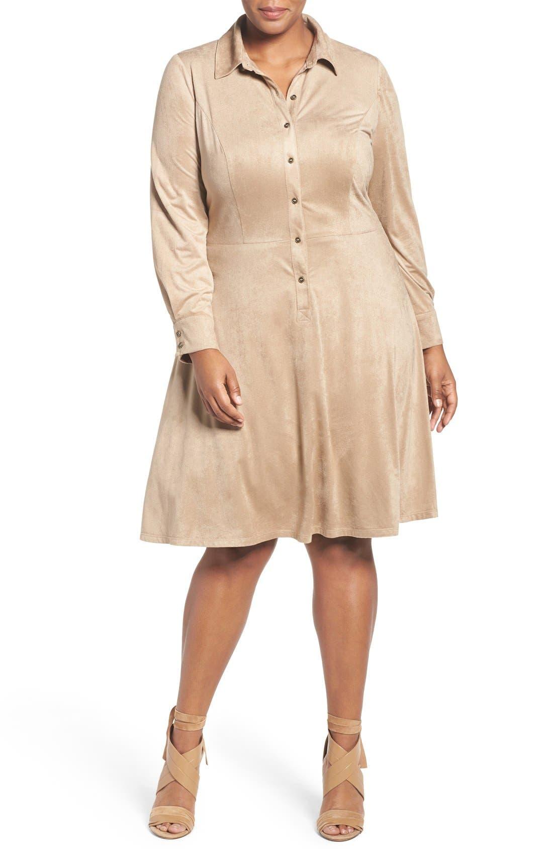 Faux Suede Shirtdress,                         Main,                         color, Buff