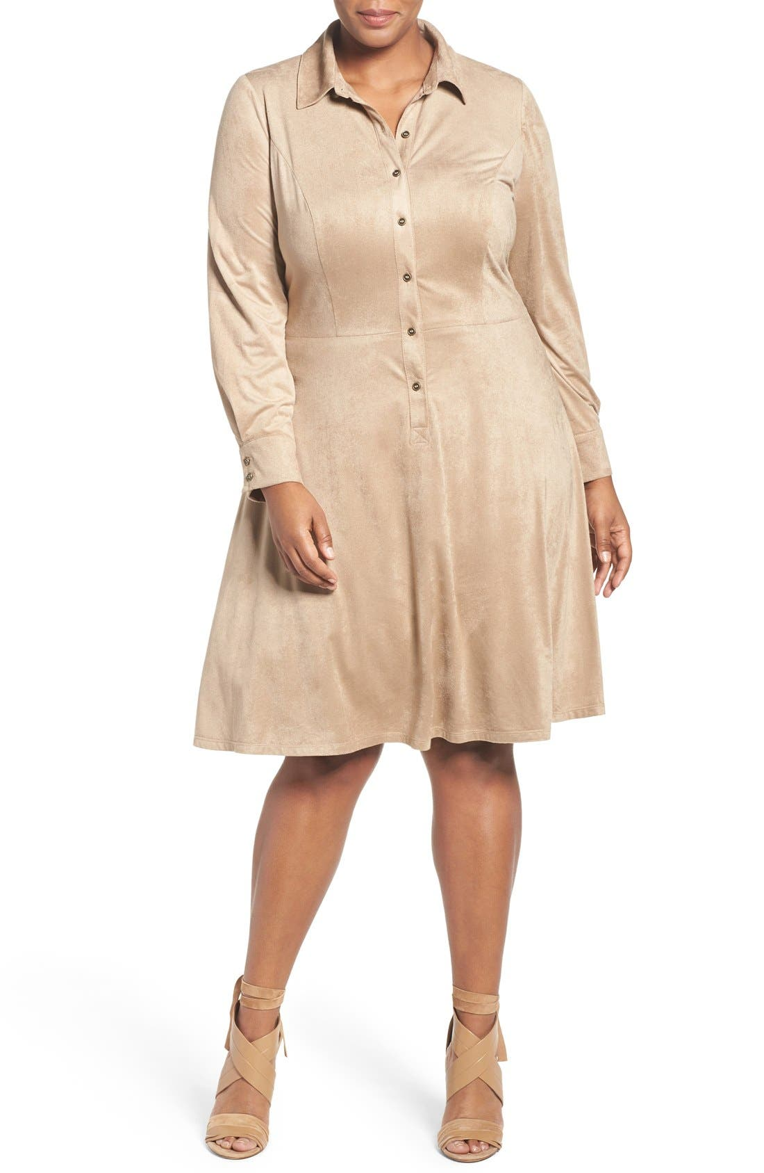 London Times Faux Suede Shirtdress (Plus Size)