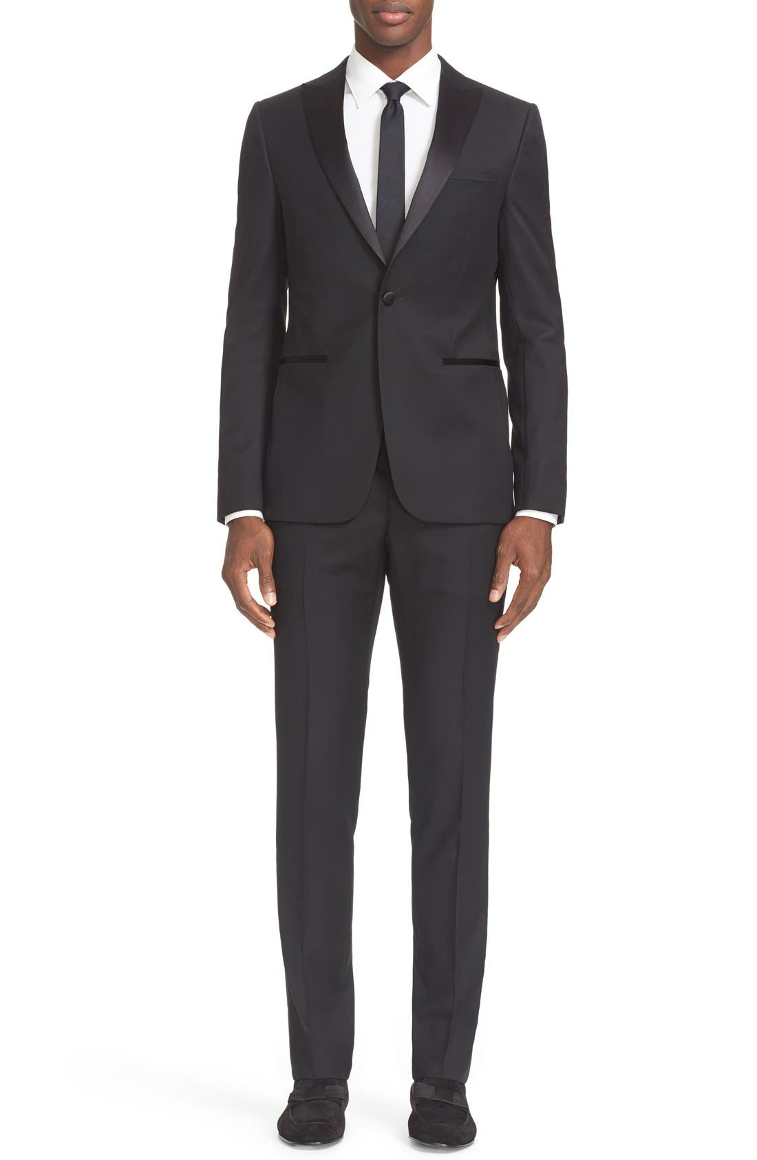 Trim Fit Wool & Mohair Tuxedo,                             Main thumbnail 1, color,                             Black