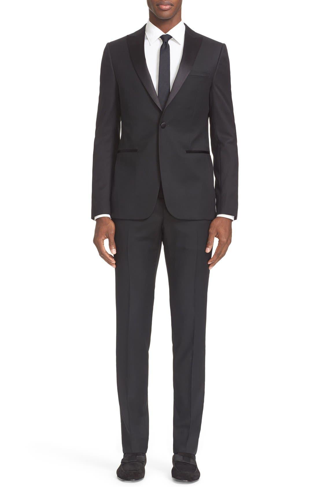 Trim Fit Wool & Mohair Tuxedo,                         Main,                         color, Black