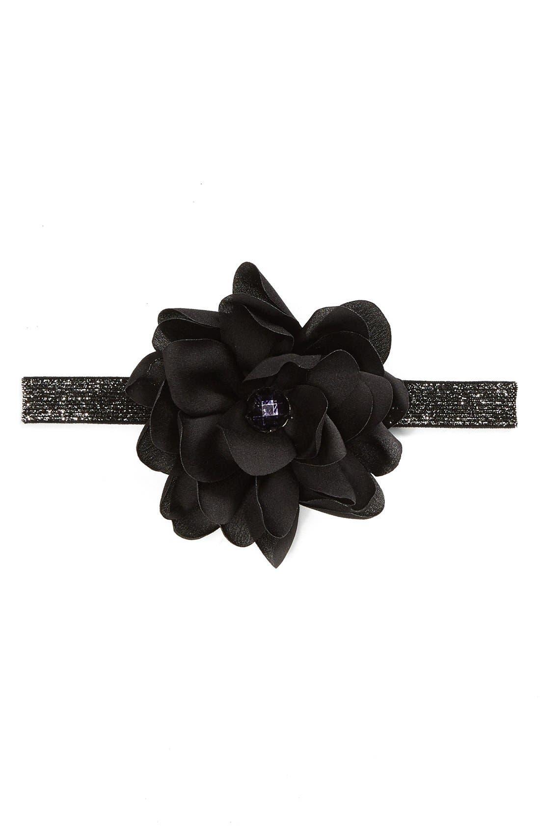 Floral Headband,                             Main thumbnail 1, color,                             Black