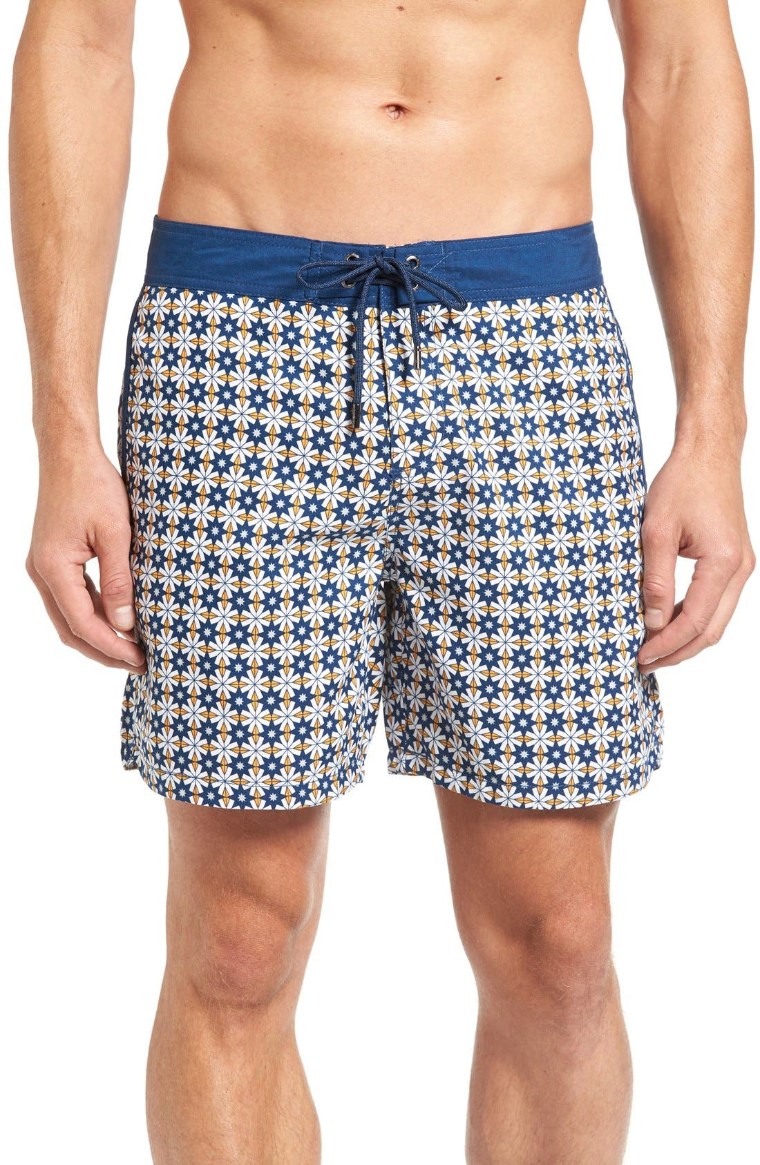 Star Tile Print Board Shorts,                         Main,                         color, Orange