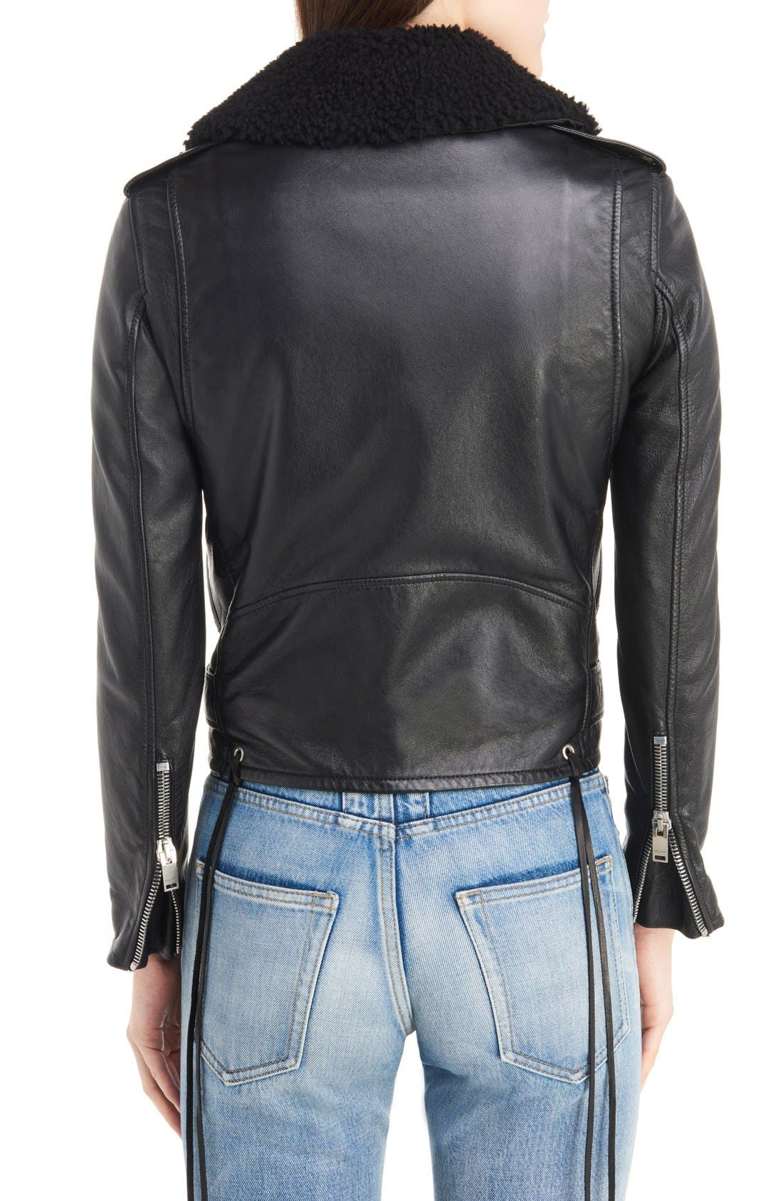 Alternate Image 2  - Saint Laurent Leather Moto Jacket with Removable Genuine Shearling Collar