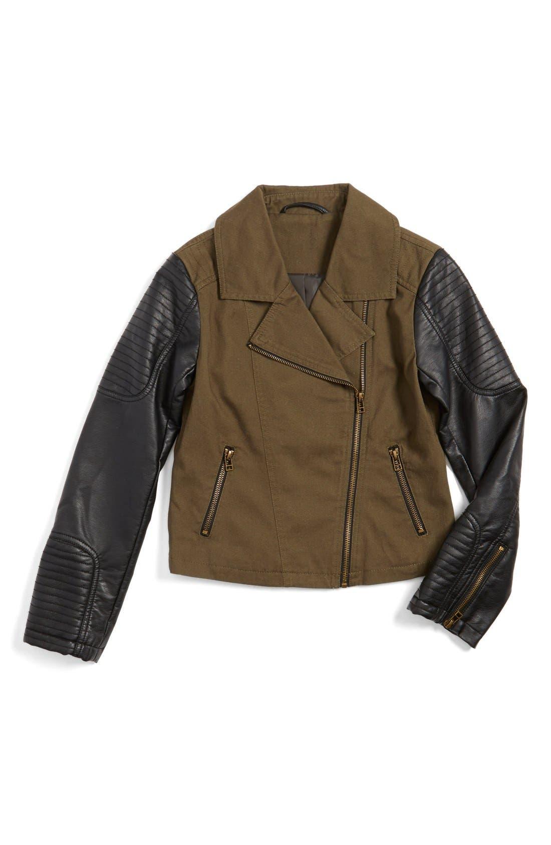 Alternate Image 1 Selected - CoffeeShop Kids Moto Jacket (Big Girls)