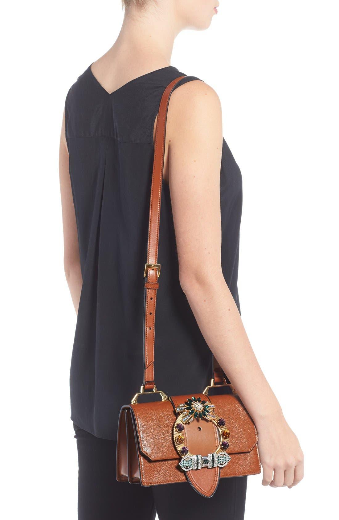 'Small Madras' Crystal Embellished Leather Shoulder Bag,                             Alternate thumbnail 2, color,                             Brandy