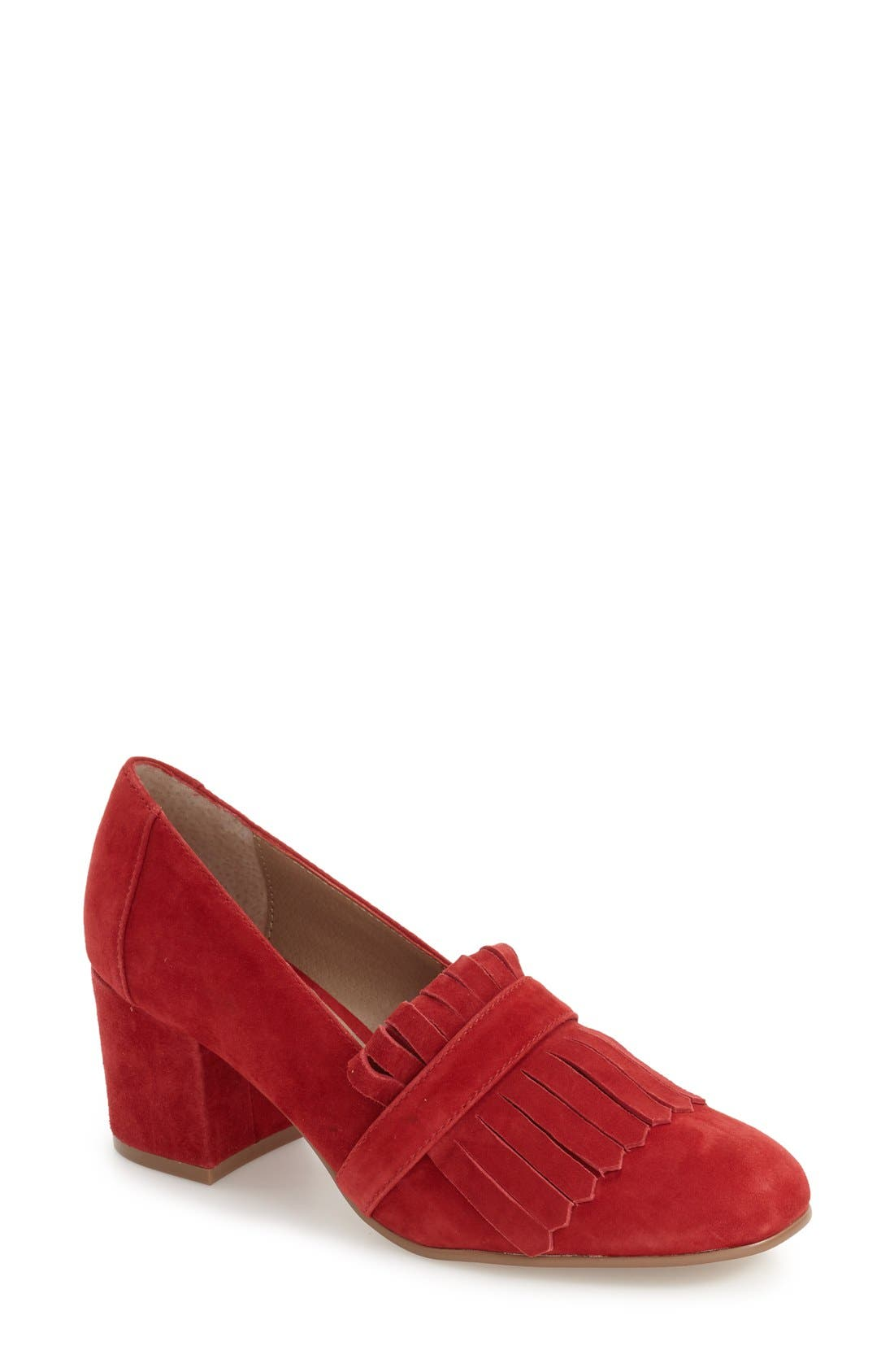 'Kate' Loafer Pumps,                         Main,                         color, Red Suede