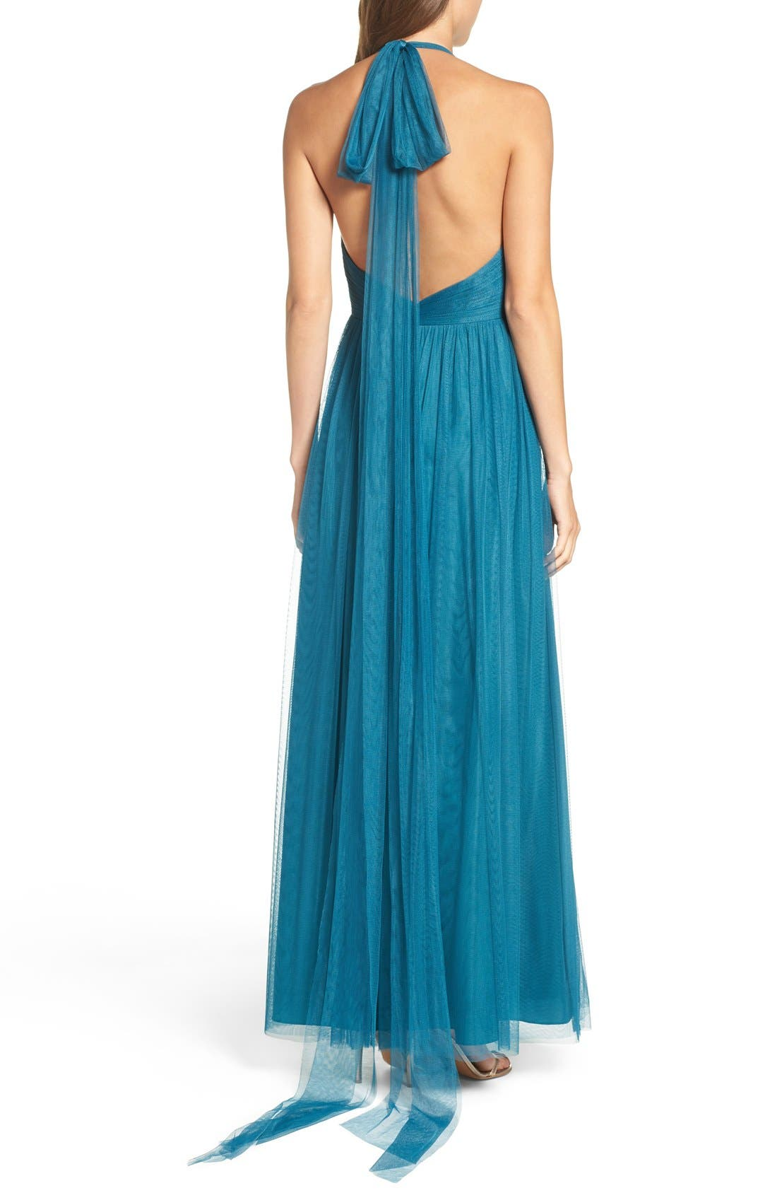 Deep V-Neck Chiffon & Tulle Gown,                             Alternate thumbnail 2, color,                             Teal