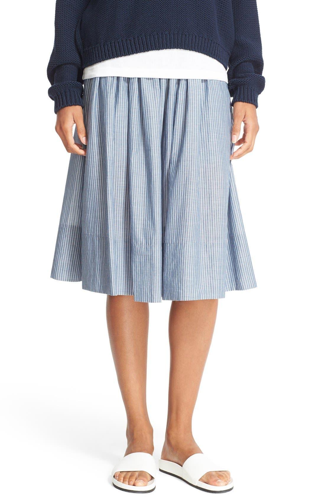Alternate Image 1 Selected - Vince Shirred Stripe Full Cotton Skirt
