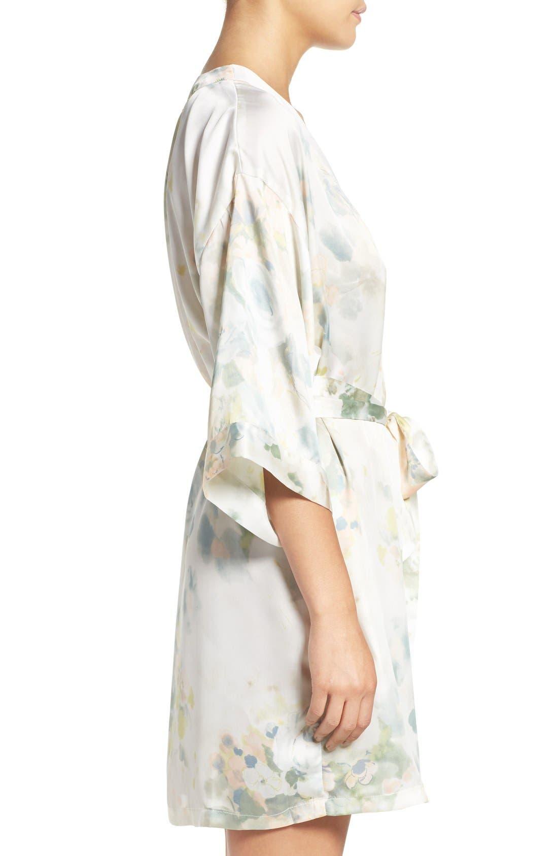 Isabella Floral Print Kimono Robe,                             Alternate thumbnail 3, color,                             Ivory Sage