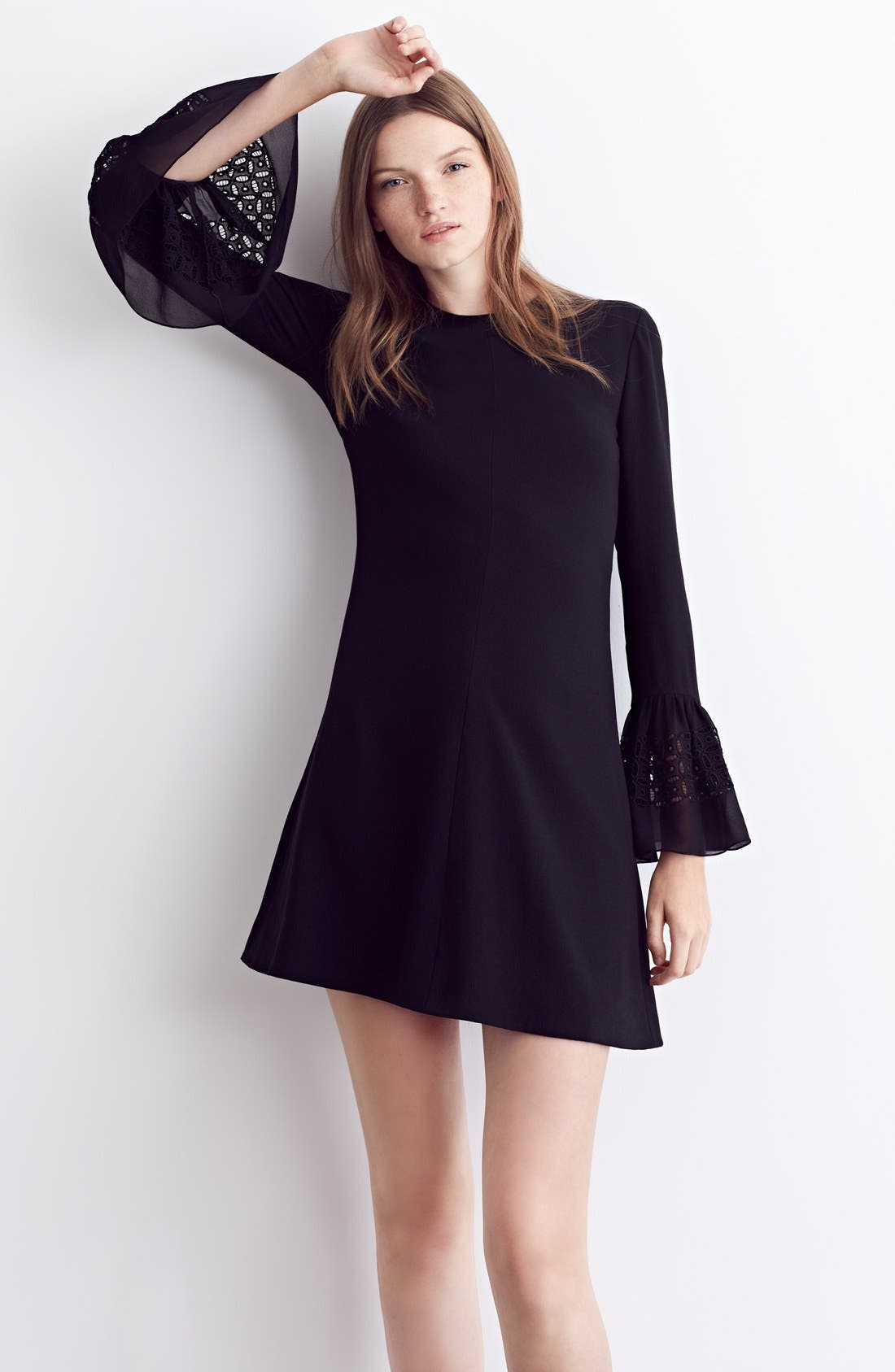 Alternate Image 7  - Saint Laurent Lace Flutter Sleeve Babydoll Dress