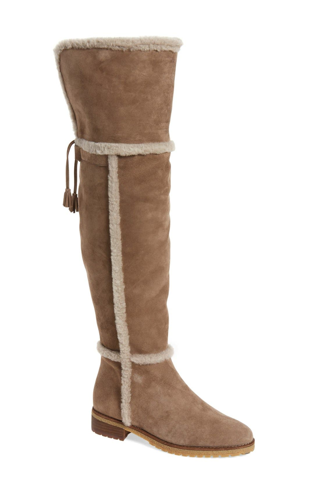 'Tamara' Genuine Shearling Over the Knee Boot,                             Main thumbnail 1, color,                             Taupe Suede