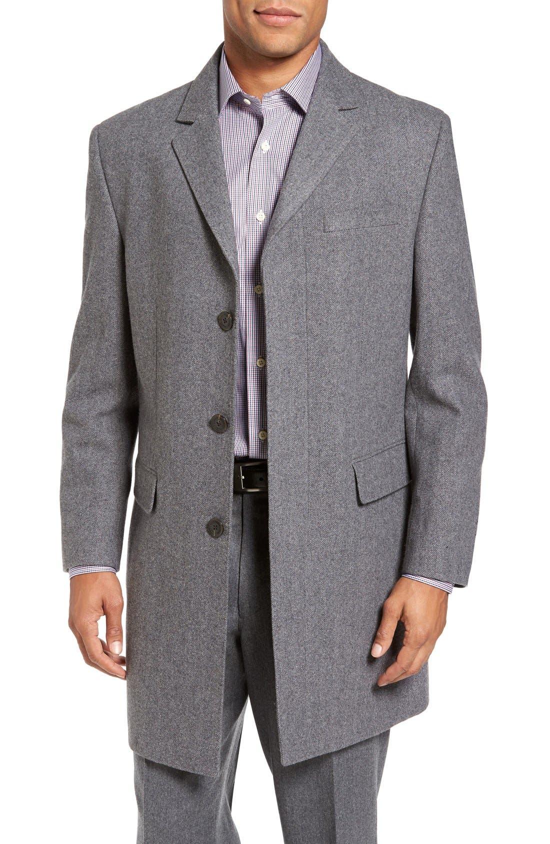 Maitland Modern Fit Wool Blend Overcoat,                         Main,                         color, Light Grey