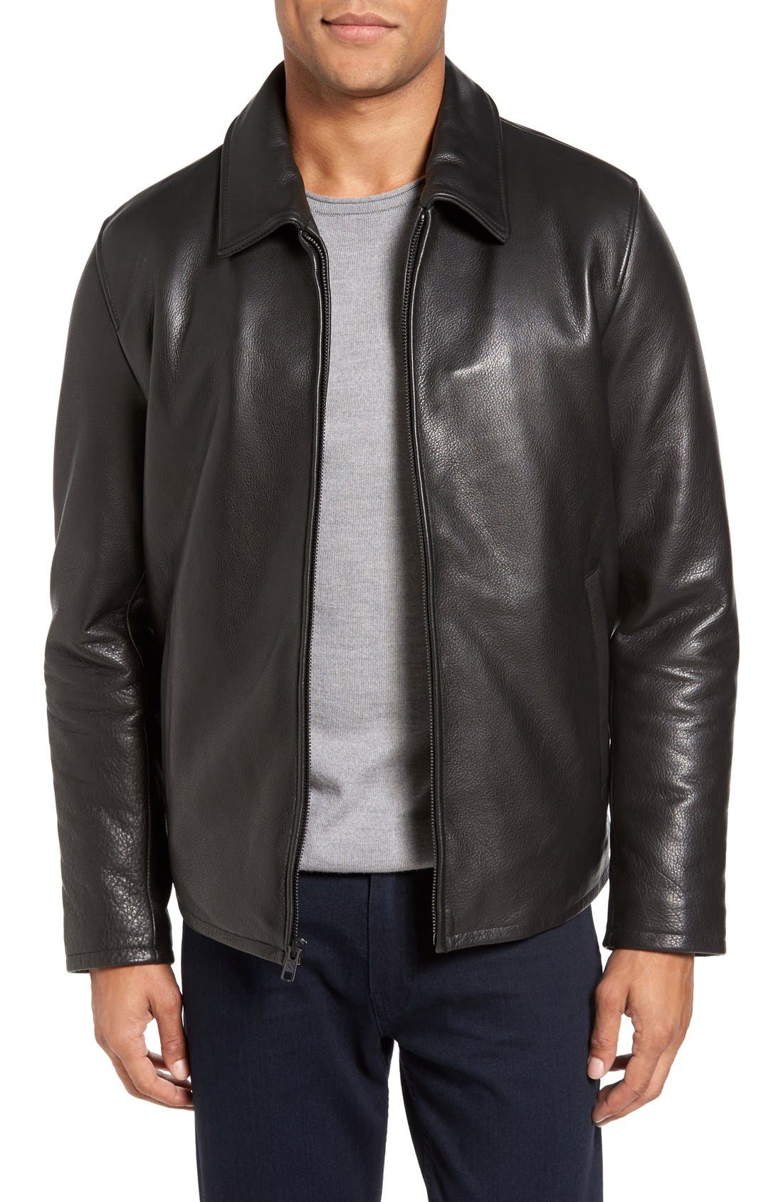 Leather Zip Front Jacket,                             Main thumbnail 1, color,                             Black