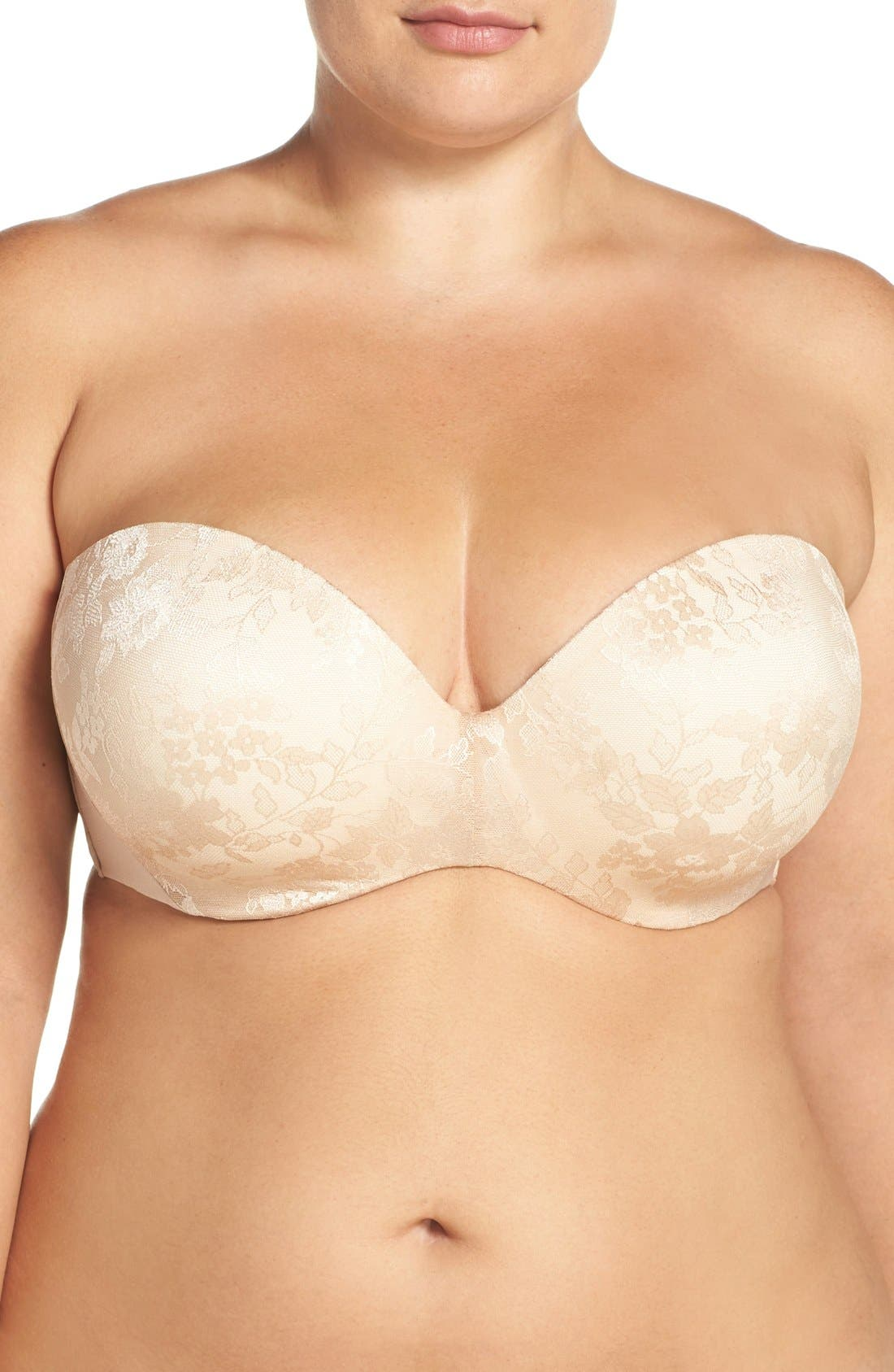 Strapless Underwire Push-Up Bra,                             Main thumbnail 1, color,                             Nude