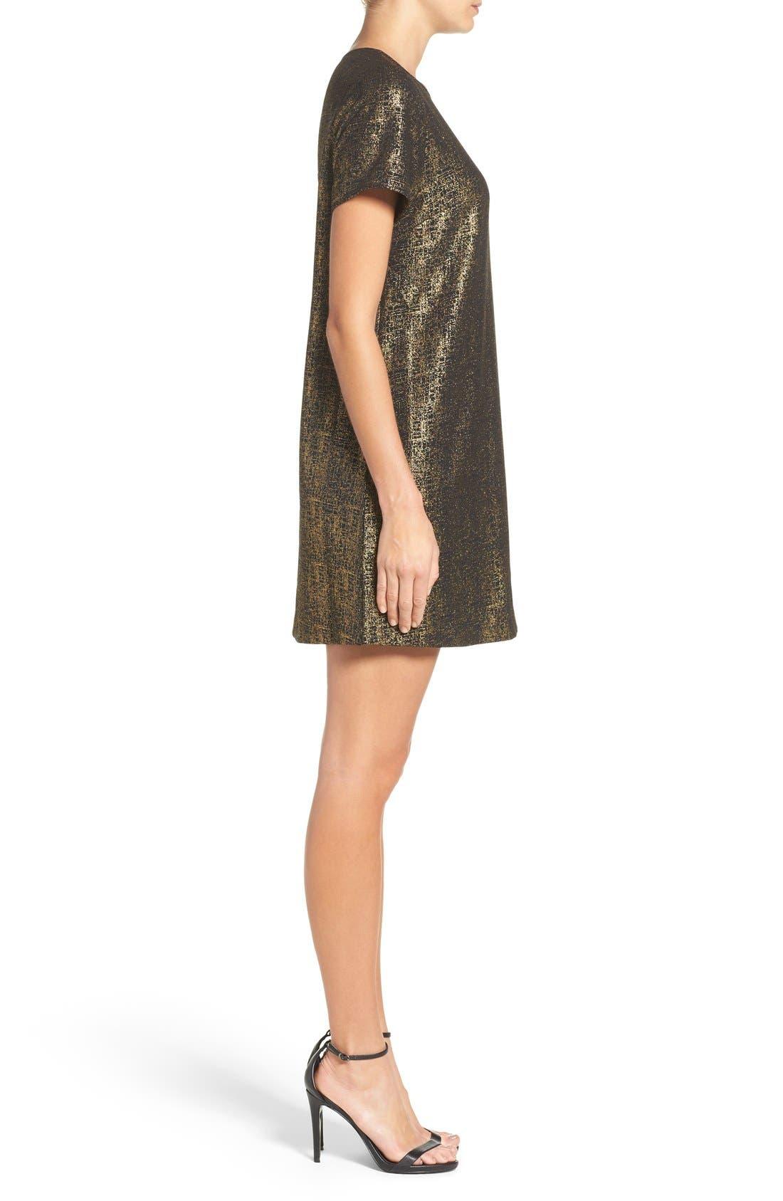 Amy Metallic Shift Dress,                             Alternate thumbnail 3, color,                             Black/ Gold