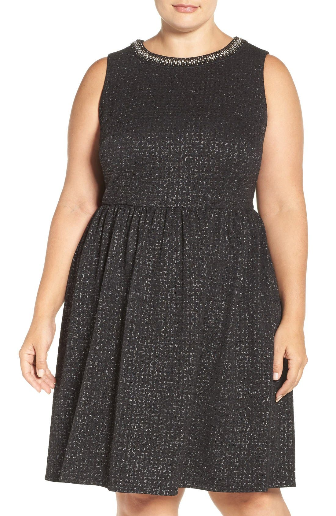 Embellished Stretch Fit & Flare Dress,                         Main,                         color, Black/ Silver