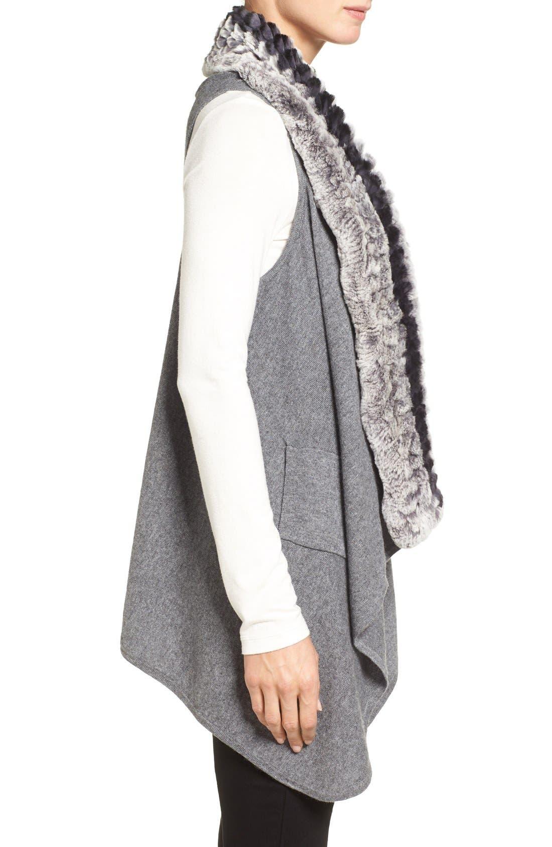 Cashmere Drape Vest with Genuine Rex Rabbit Fur Trim,                             Alternate thumbnail 3, color,                             Grey