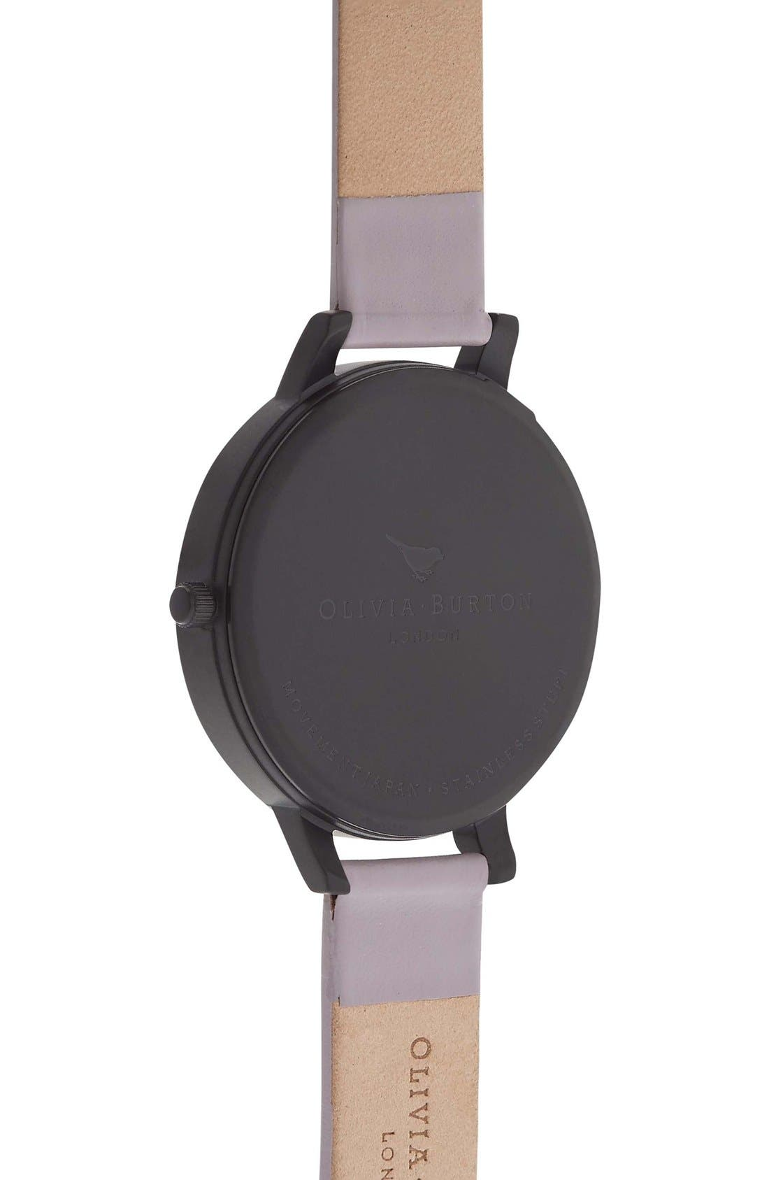Alternate Image 2  - Olivia Burton After Dark Butterfly Leather Strap Watch, 38mm