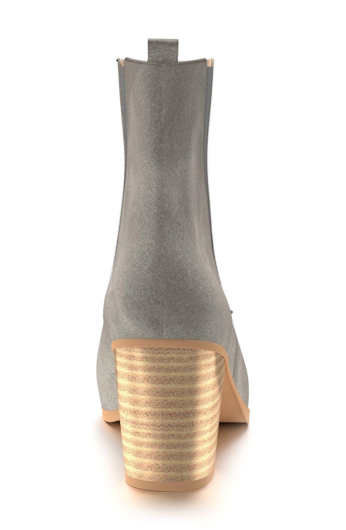Block Heel Chelsea Boot,                             Alternate thumbnail 3, color,                             Dark Gray Leather