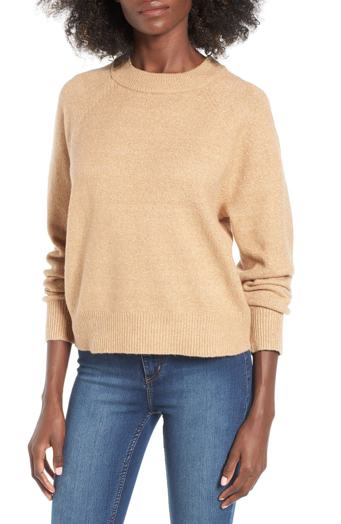 Crewneck Raglan Pullover,                         Main,                         color, Tan Toffee
