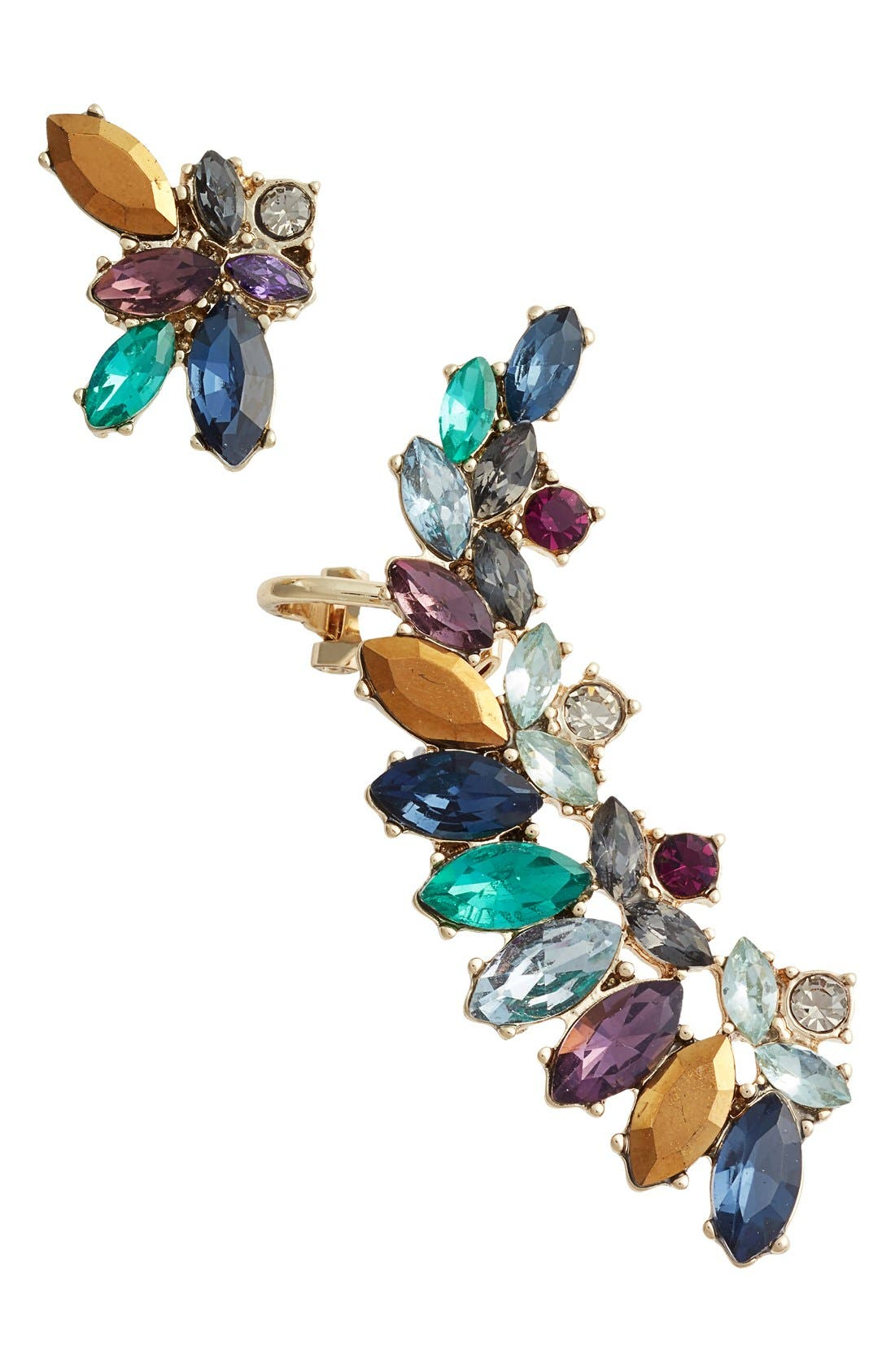 Main Image - Marchesa Mismatched Cluster Crystal Earrings