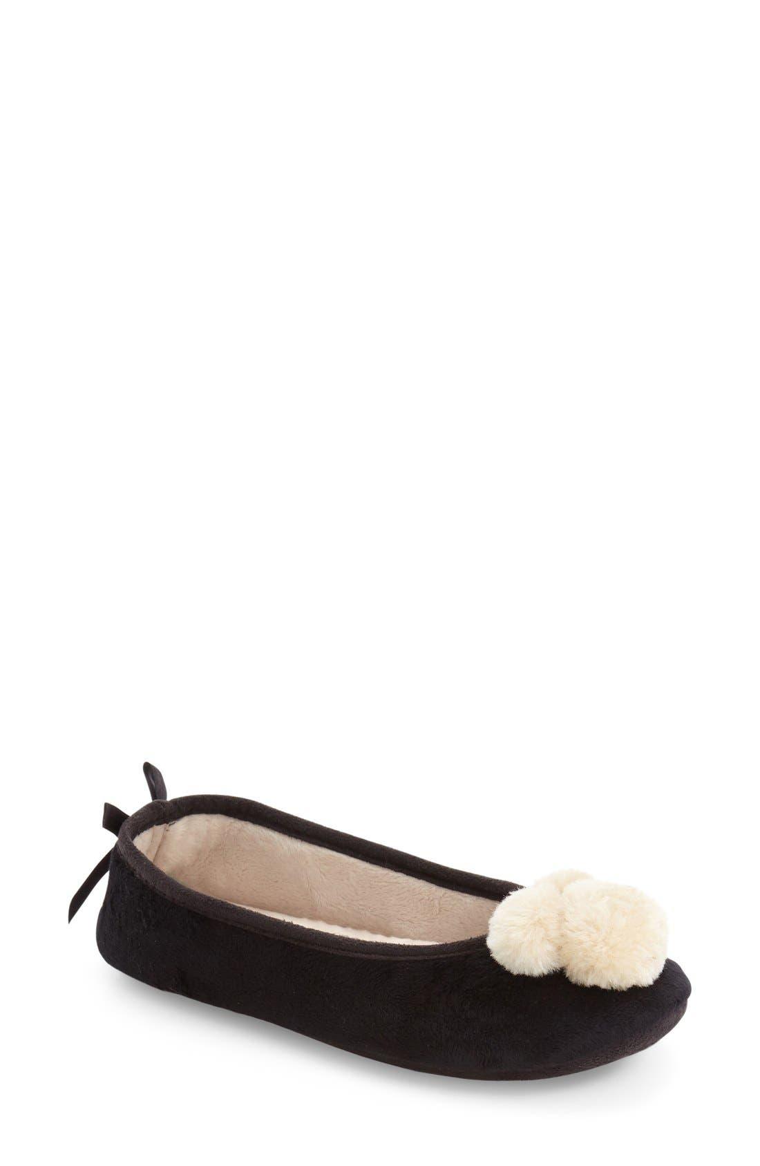 Pom Pom Slipper,                         Main,                         color, Black Fabric