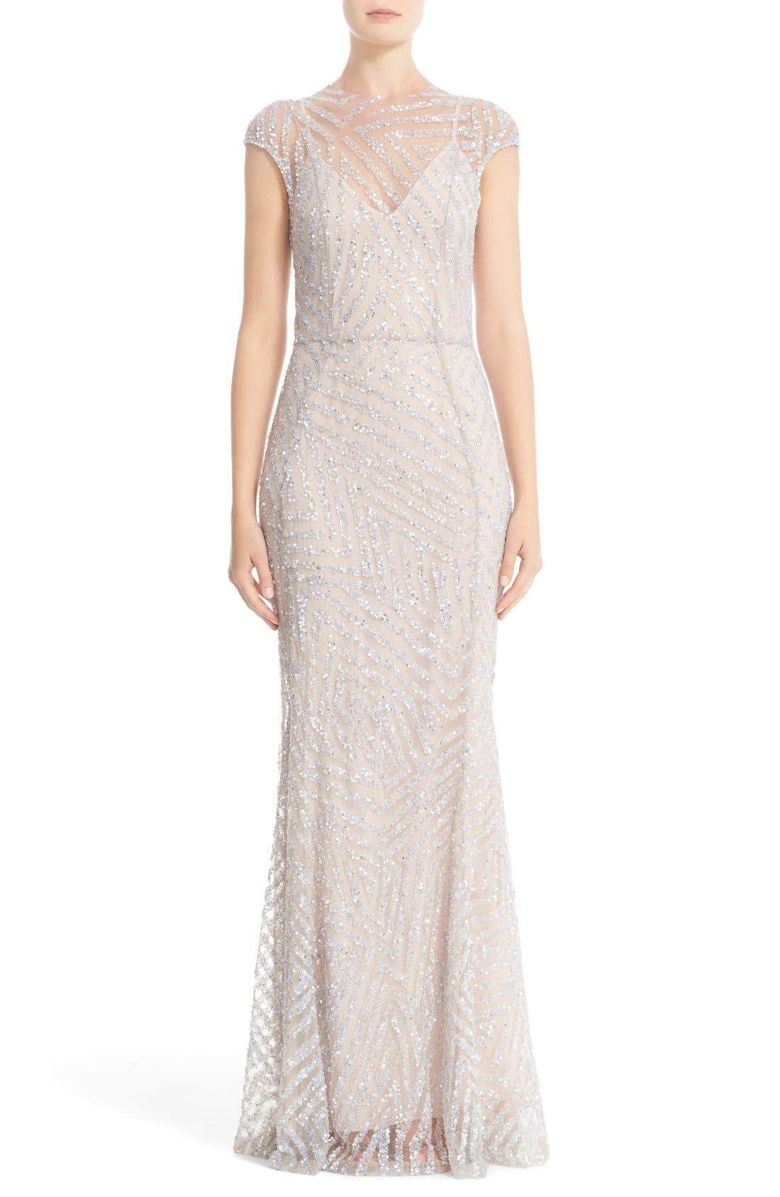 Hand Embellished Cap Sleeve Mermaid Gown,                             Main thumbnail 1, color,                             Silver