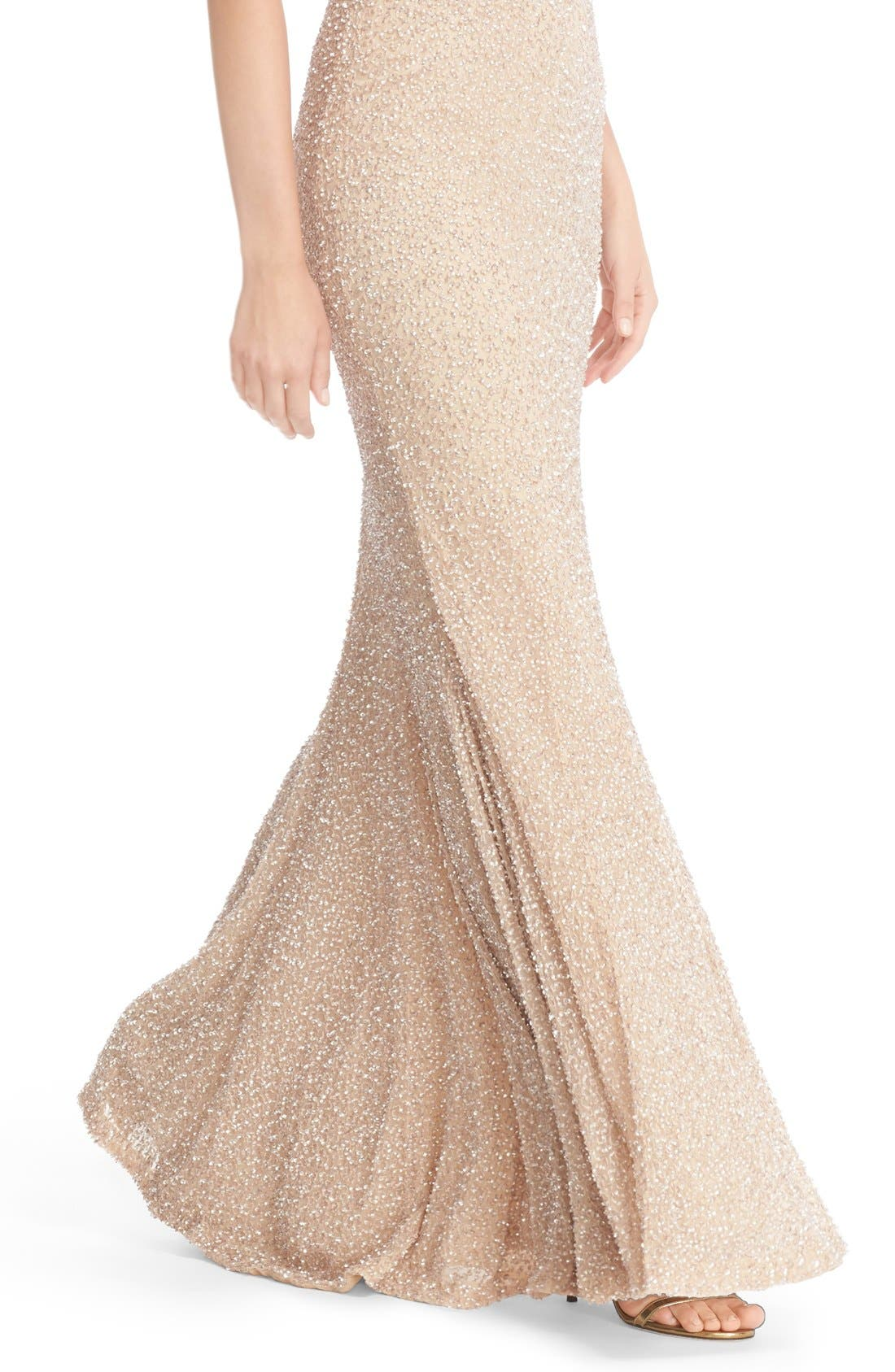 Hand Embellished Halter Mermaid Gown,                             Alternate thumbnail 6, color,                             Champagne