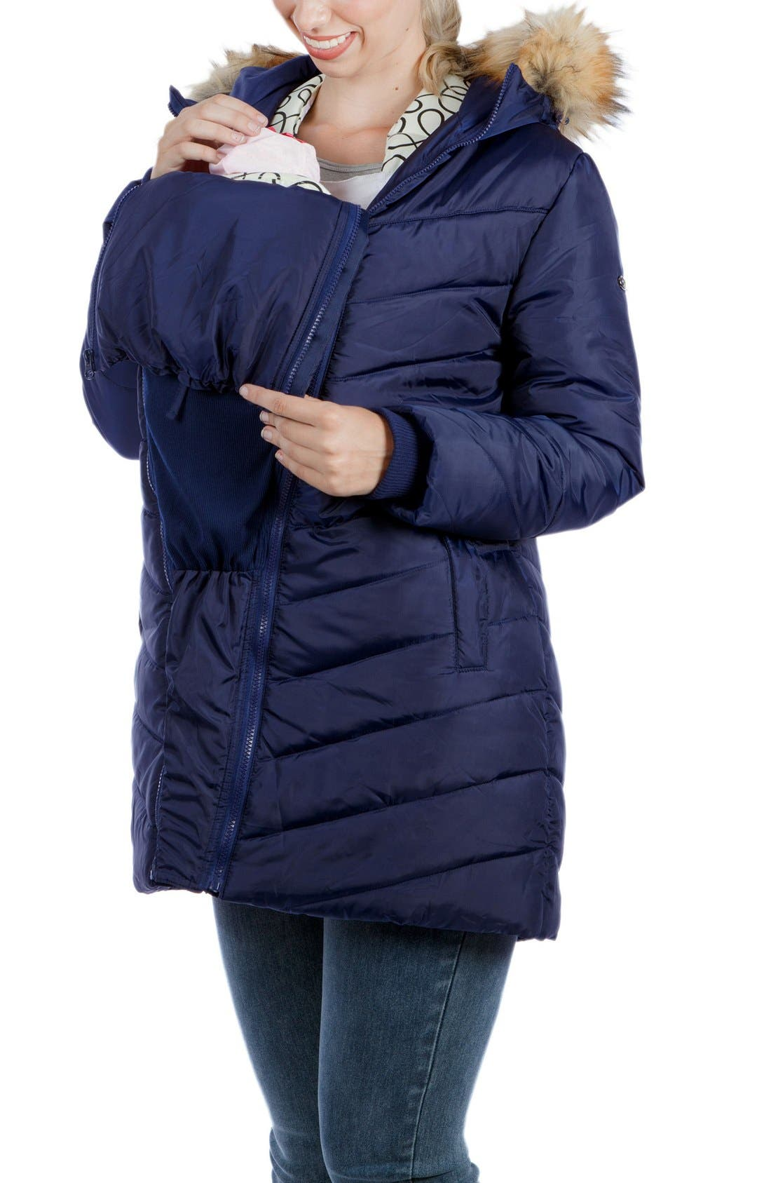 Faux Fur Trim Convertible Puffer 3-in-1 Maternity Jacket,                             Alternate thumbnail 6, color,                             Navy