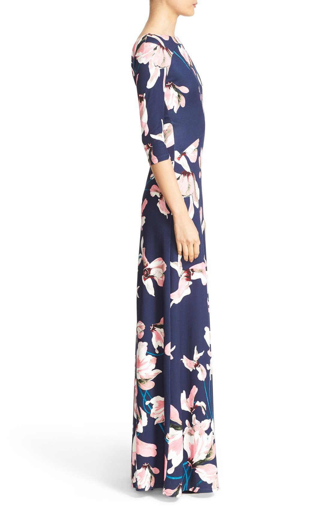 Valentina Floral Print Jersey Gown,                             Alternate thumbnail 4, color,                             Navy/ Pink