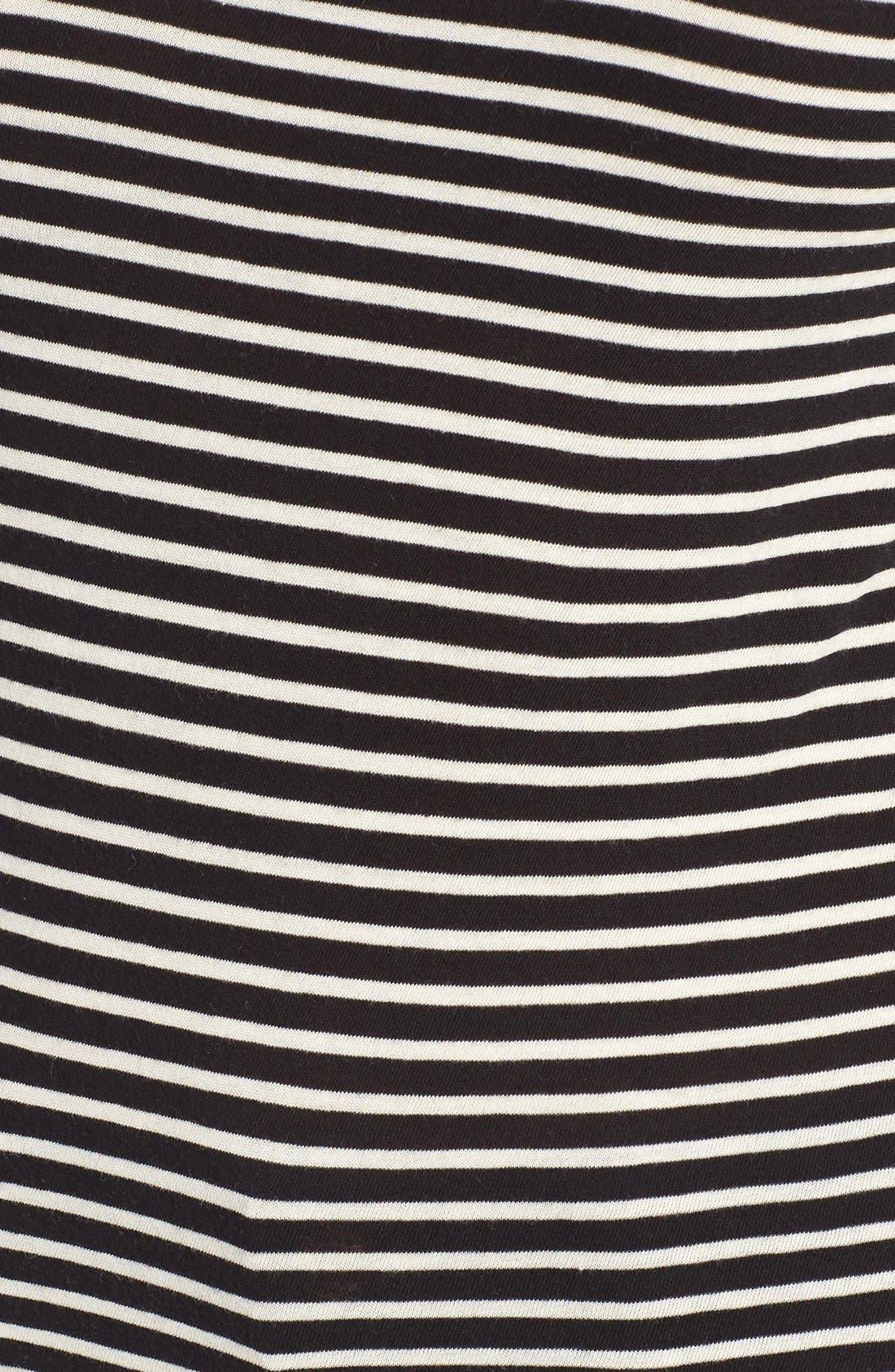 J.Crew Stripe Tissue Turtleneck Tee,                             Alternate thumbnail 5, color,                             Black Ecru