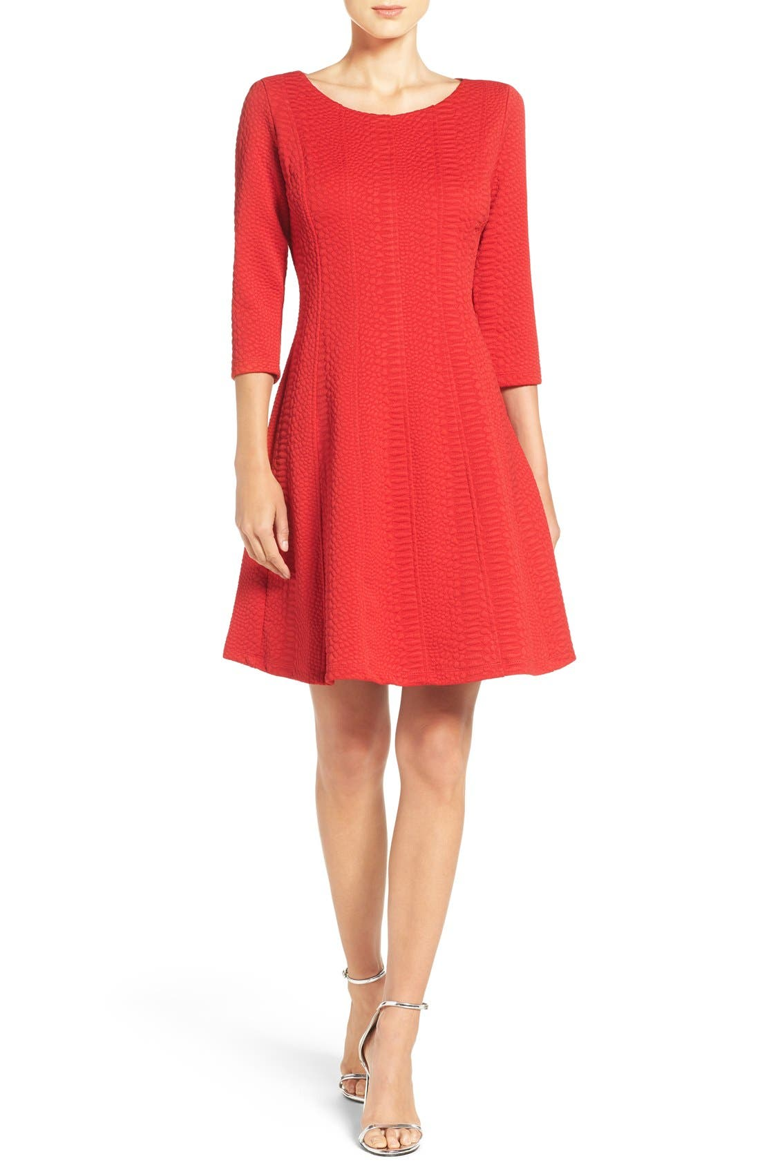 Jacquard Knit Fit & Flare Dress,                             Alternate thumbnail 4, color,                             Red