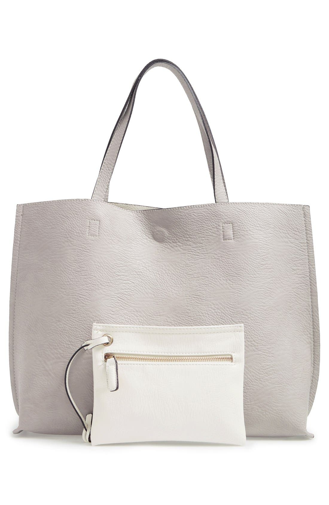 Reversible Faux Leather Tote & Wristlet,                             Main thumbnail 1, color,                             Grey/ Ivory