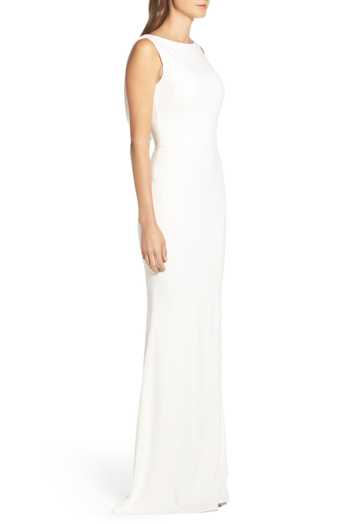 Alternate Image 7  - Katie May Drape Back Crepe Gown