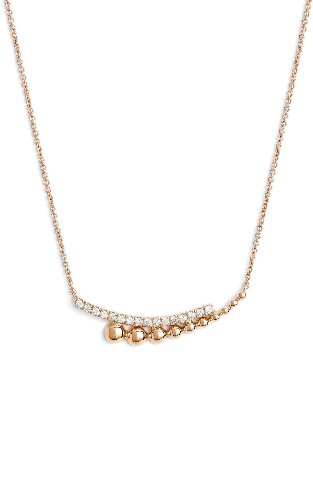 Poppy Rae Diamond Pendant Necklace,                         Main,                         color, Rose Gold