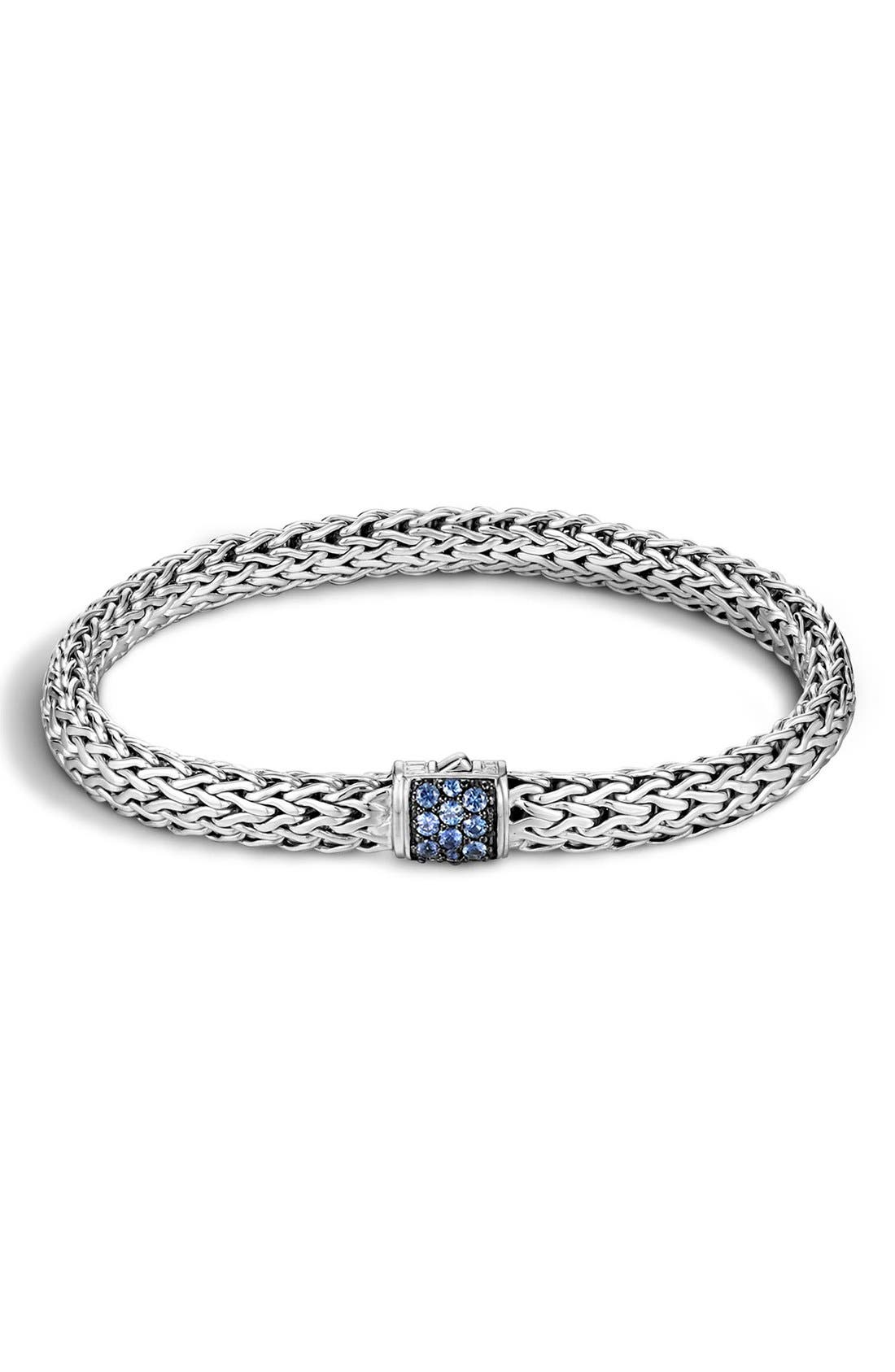 Classic Chain 6.5mm Bracelet,                         Main,                         color, Silver/ Blue Sapphire