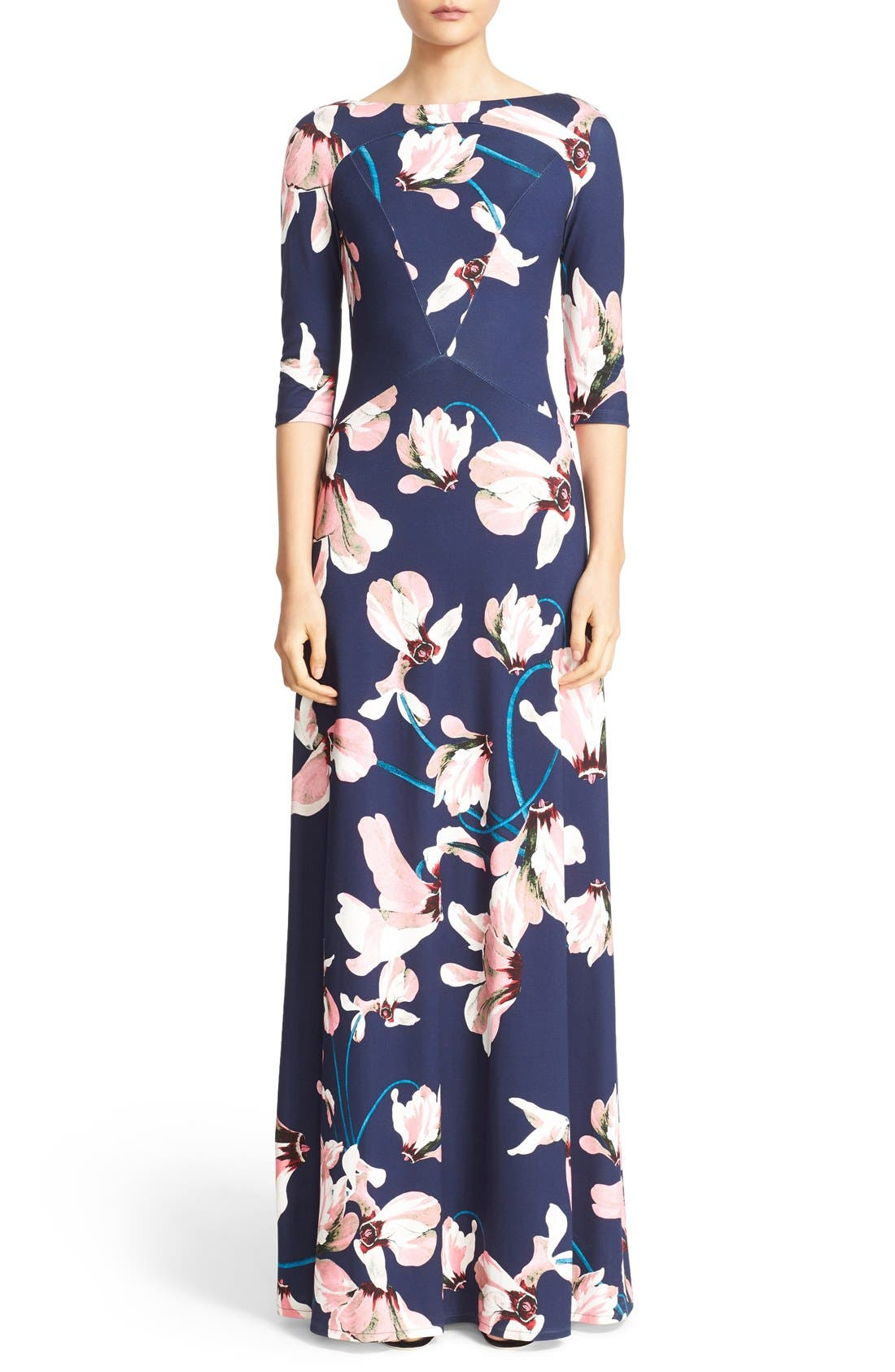Valentina Floral Print Jersey Gown,                             Main thumbnail 1, color,                             Navy/ Pink