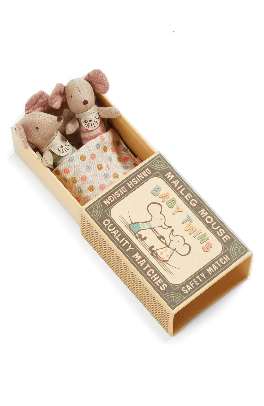 Maileg Baby Twins Stuffed Toy Mice in a Box