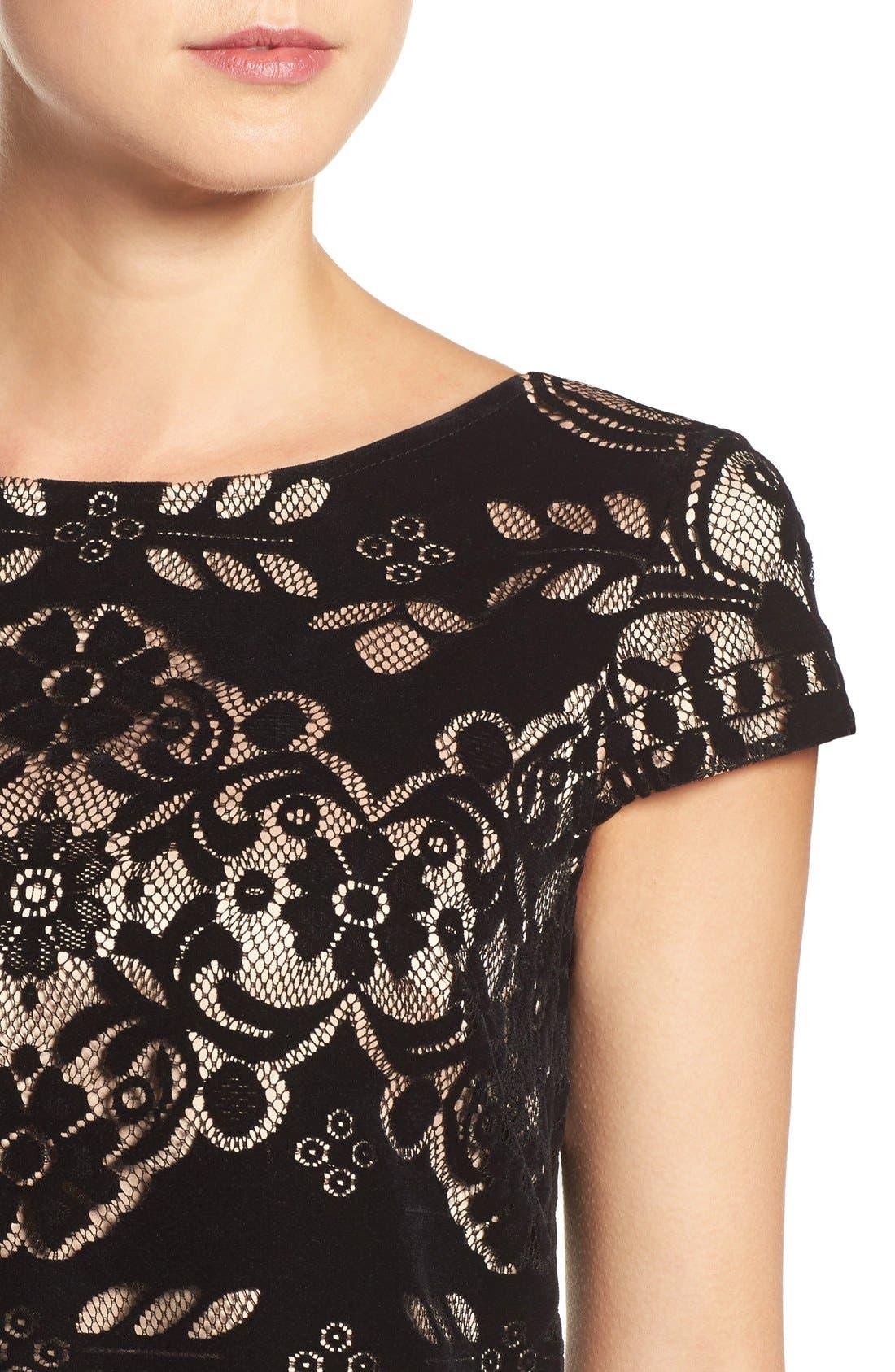 Alternate Image 5  - Eliza J Burnout Velvet Sheath Dress (Regular & Petite)