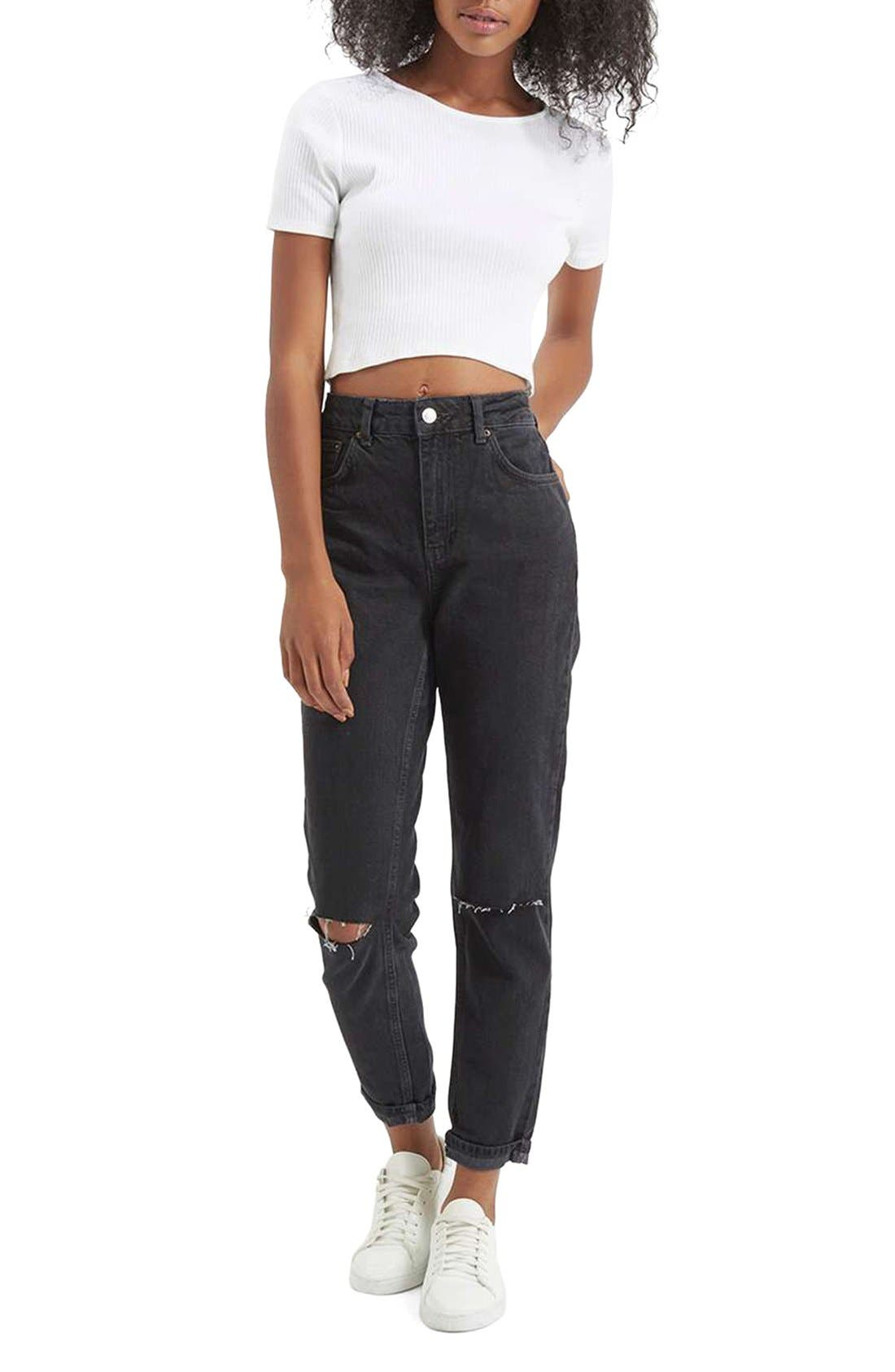 Alternate Image 2  - Topshop Moto Mom Washed Ripped Jeans