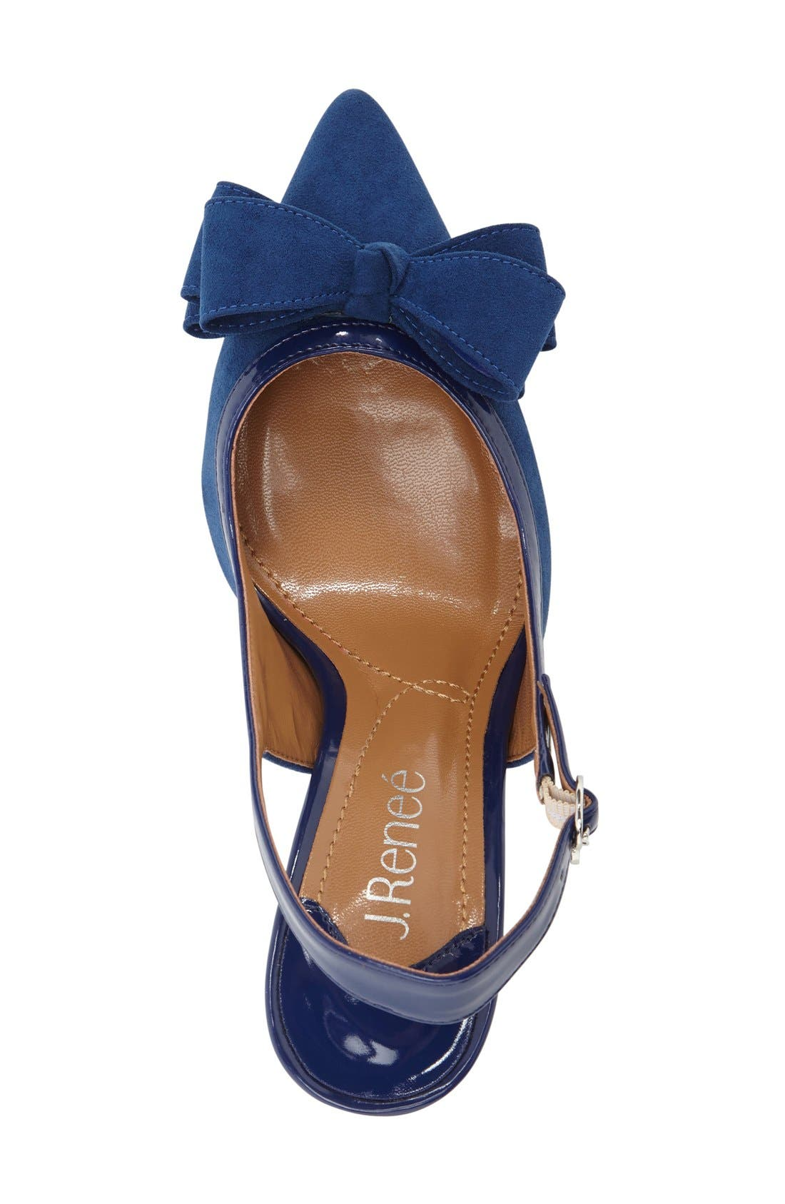 Charis Slingback Bow Pump,                             Alternate thumbnail 3, color,                             Imperial Blue Faux Suede